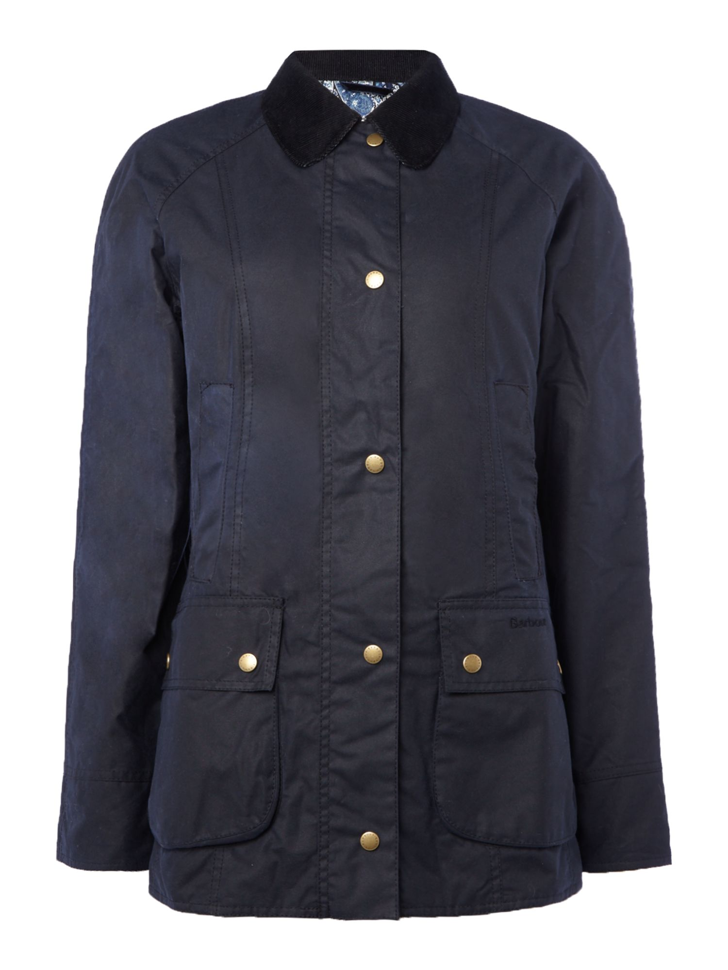 Barbour Abbey Wax Jacket, Dark Blue