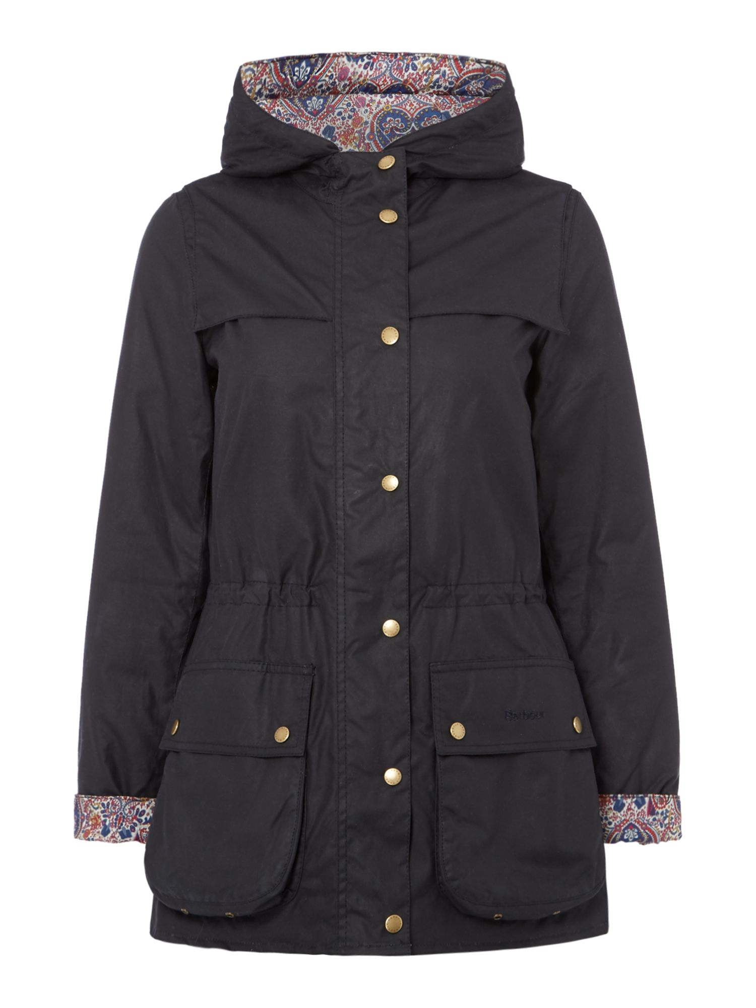 Barbour Blaise Wax Jacket With Liberty Kitty Grace Lining, Blue