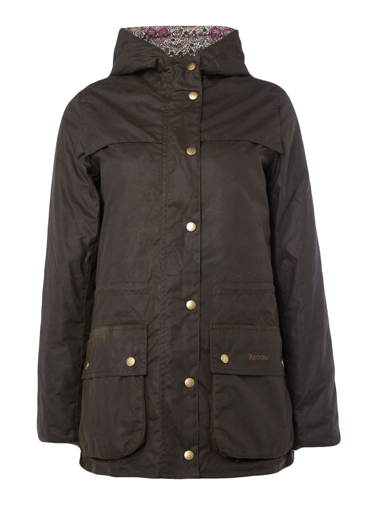 Barbour Blaise Wax Jacket With Liberty Kitty Grace Lining, Olive.