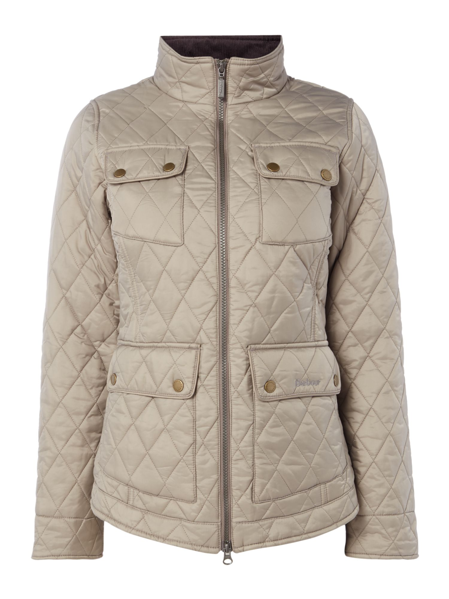 Barbour Abbey Quilted Jacket With Liberty Print Lining, Taupe