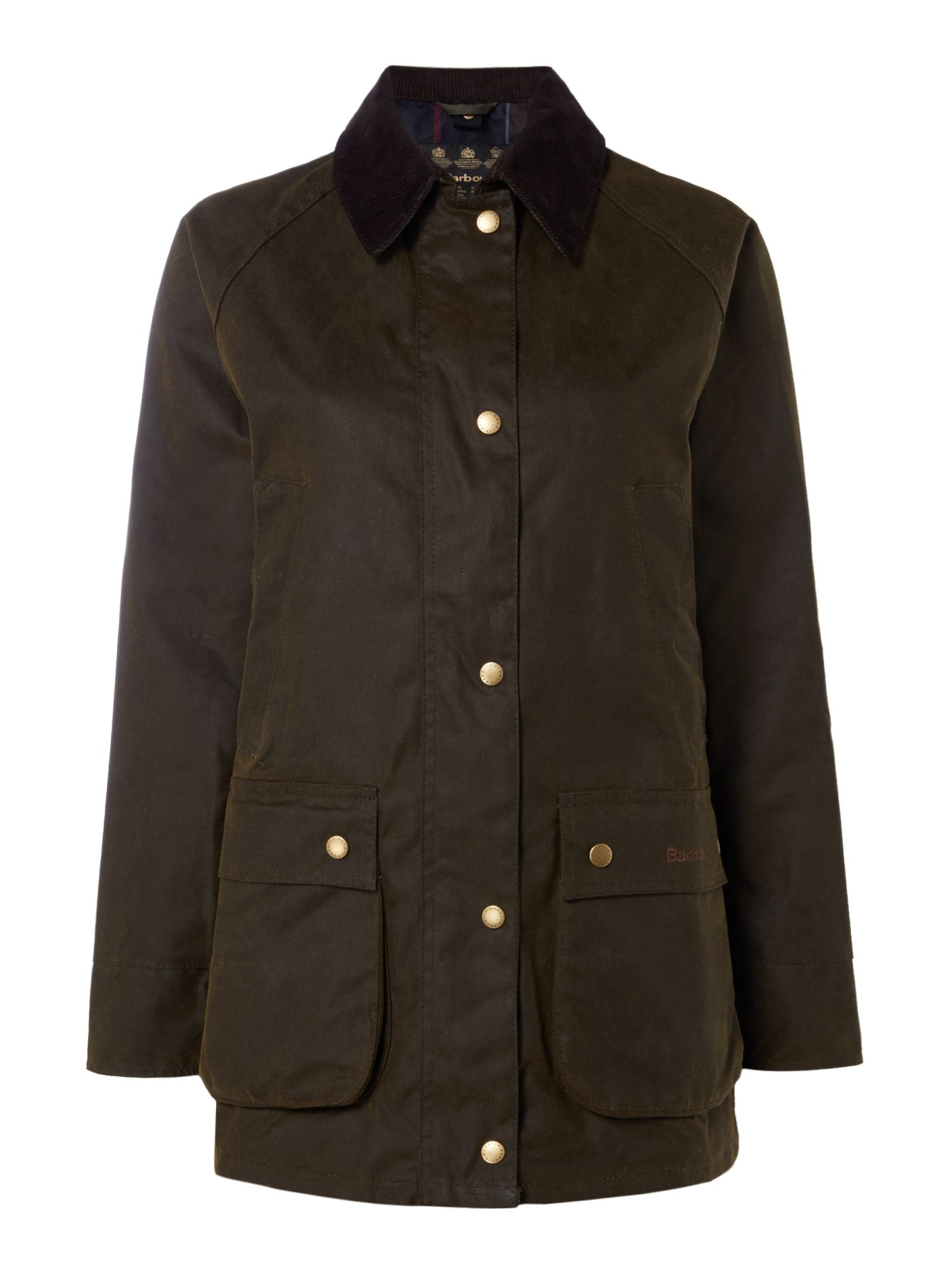Barbour Acorn Wax Jacket With Tartan Lining, Olive