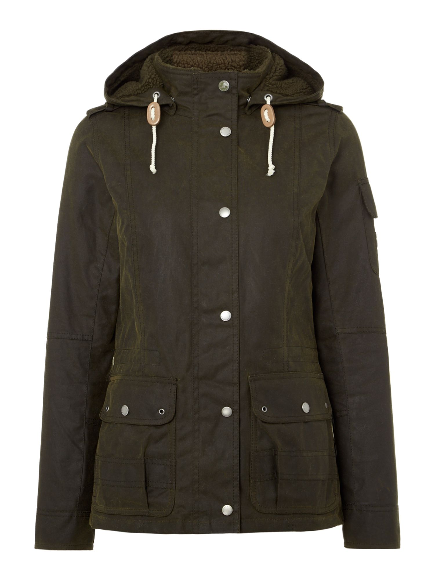 Barbour Ashley Wax Jacket With Tartan Lining, Olive