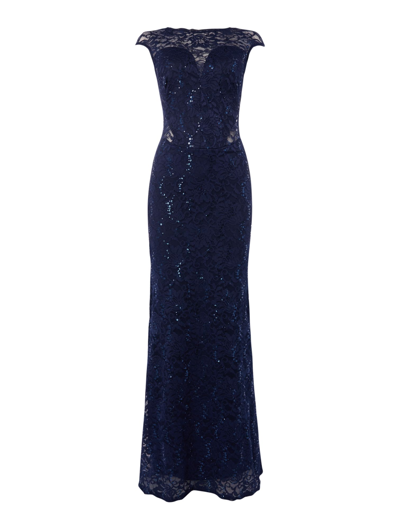 Jessica Wright Cap sleeve sequin maxi dress, Blue