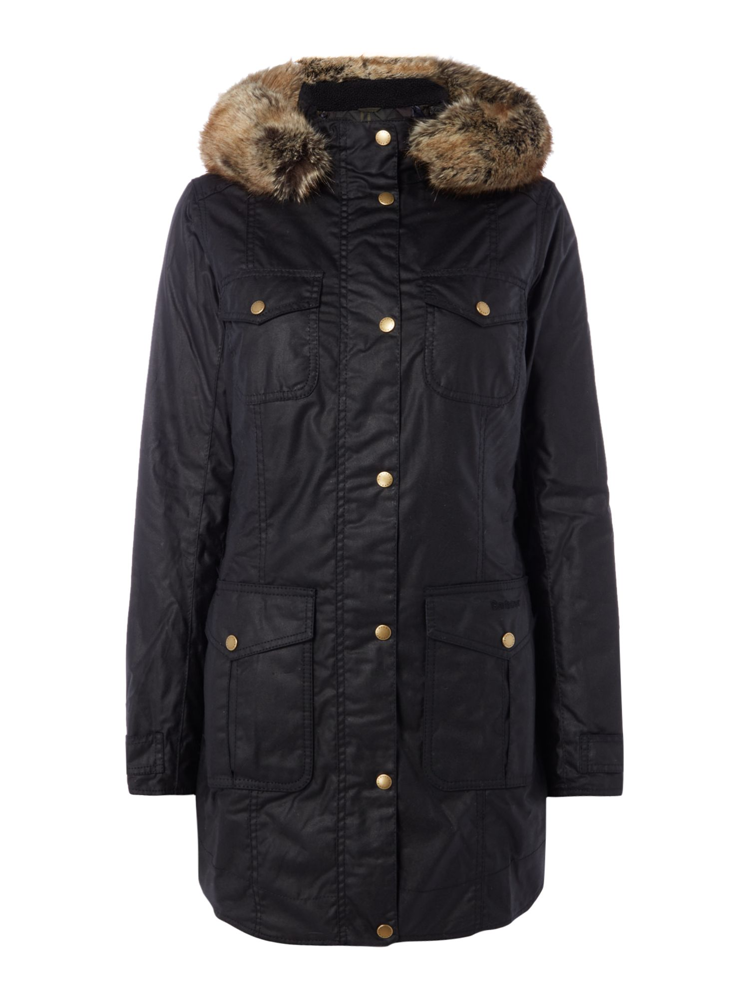 Barbour Ashbridge Wax Jacket With Fur Trim Hood, Black