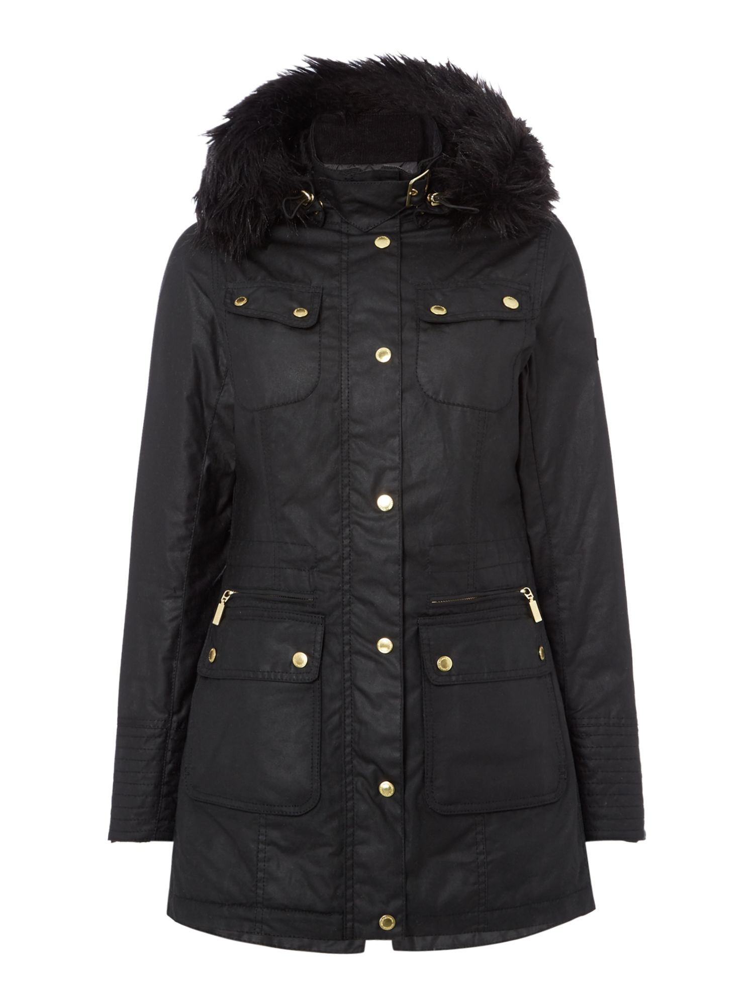 Barbour Mallory Wax Jacket with Faux Fur Hood, Black