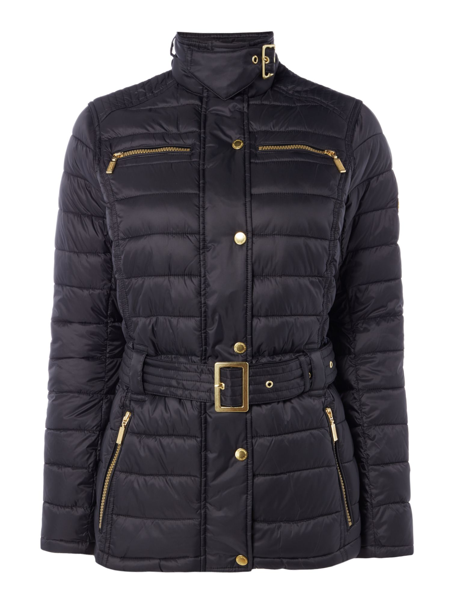Barbour Cadwell Quilt Belted Coat, Black