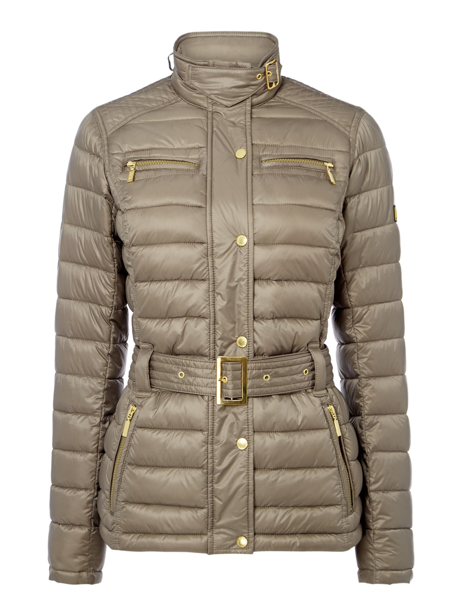 Barbour Cadwell Quilt Belted Coat, Taupe