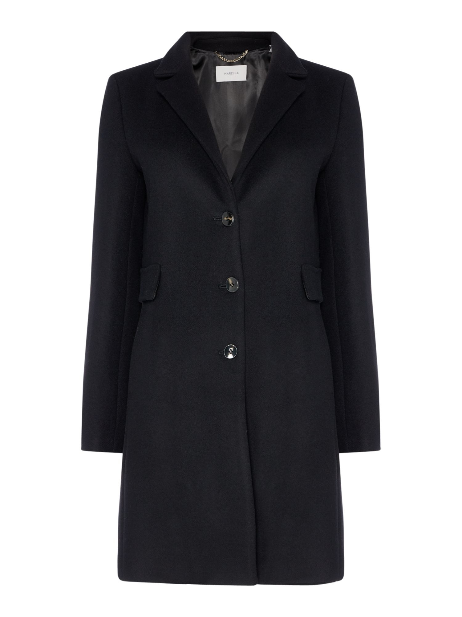 Marella Nankin single breasted wool coat, Black