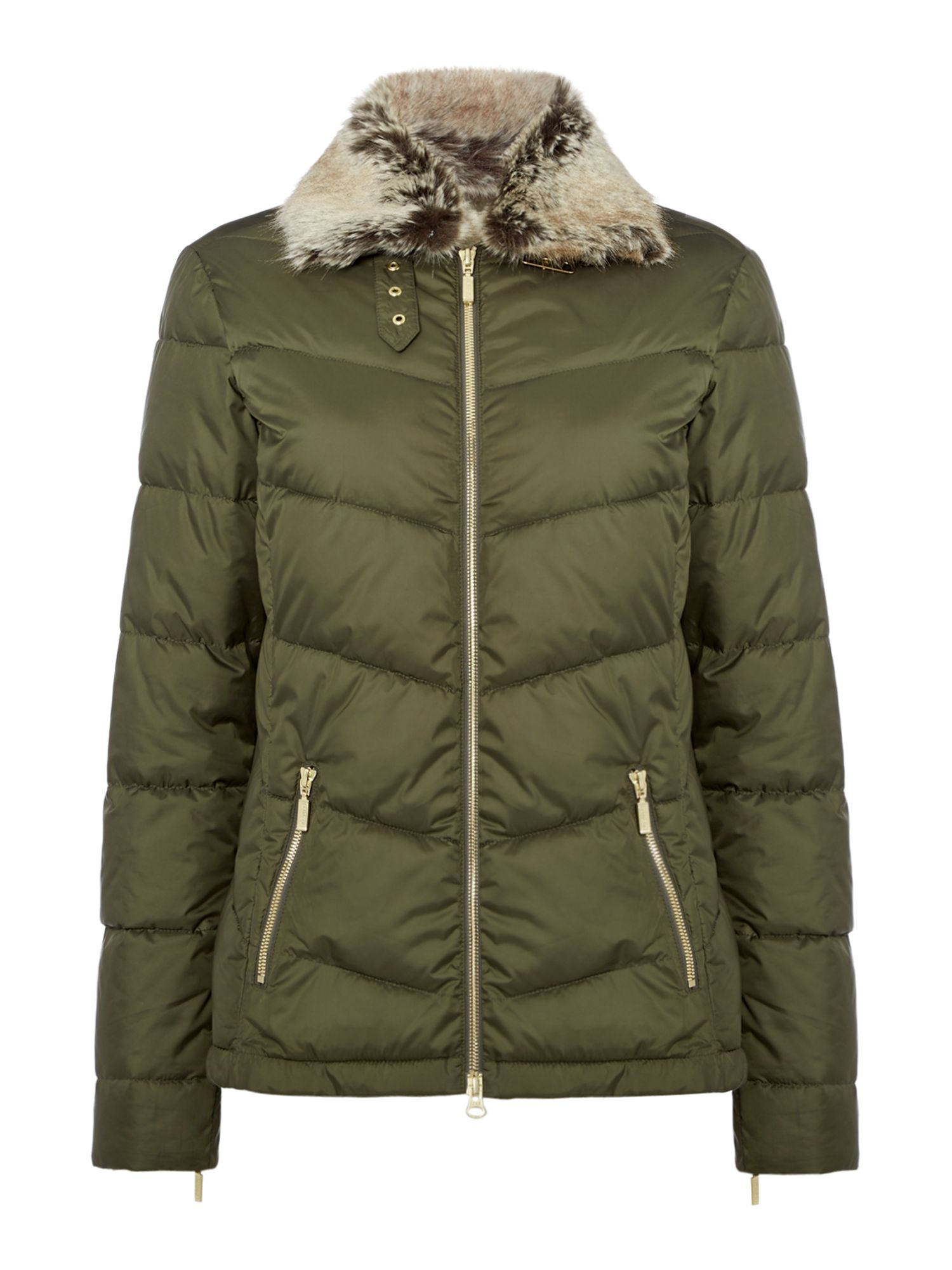 Barbour Garvie Quilt with Faux Fur Collar, Olive
