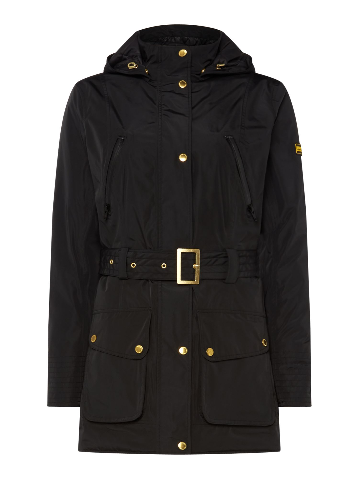 Barbour Maree Hodded and Belted Jacket, Black