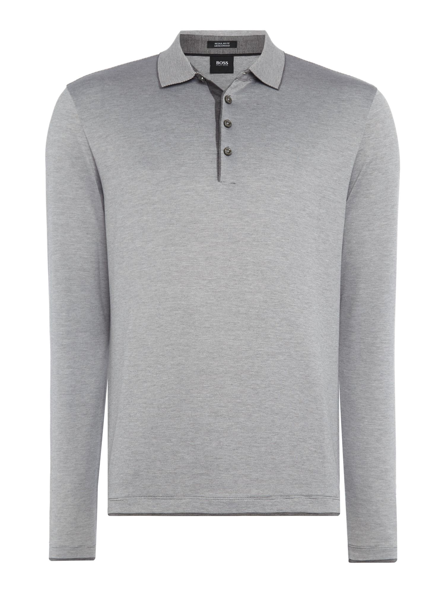 Men's Hugo Boss Pearl 05 fine stripe long sleeve polo shirt, Light Grey