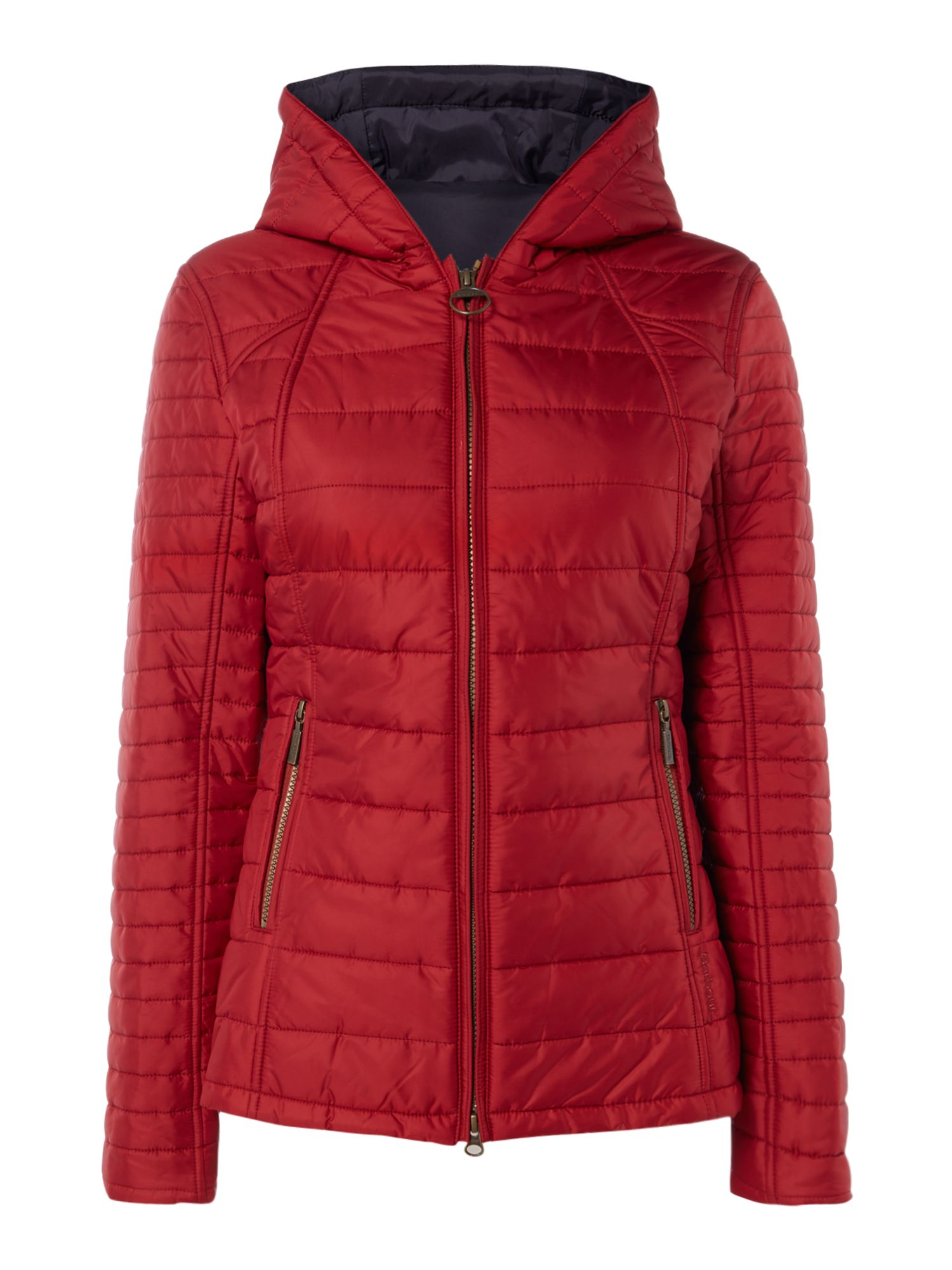 Barbour Cragside Quilted Jacket With Hood, Red