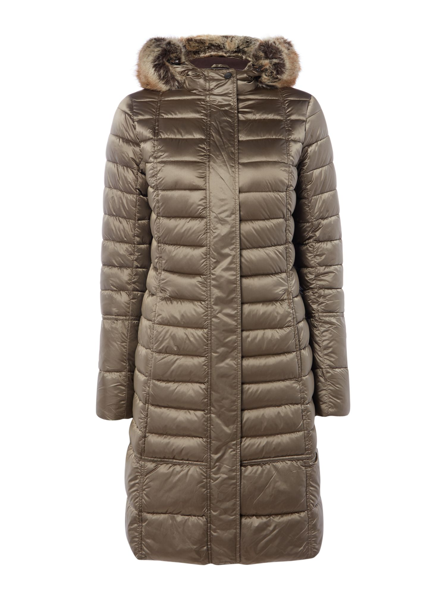 Barbour Exclusive Fortrose Faux Fur Hooded Quilt Coat, Mink