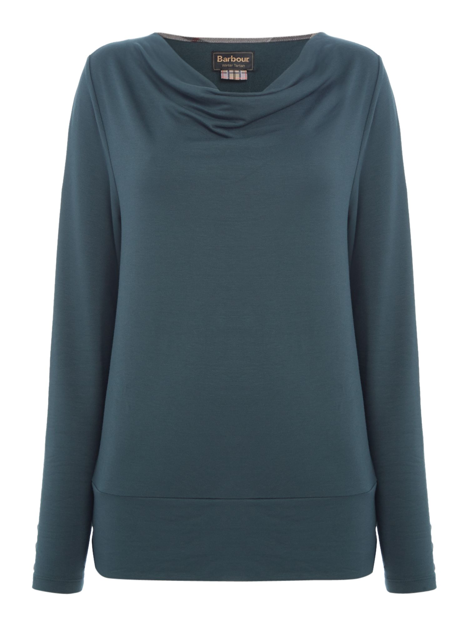 Barbour Cowl Neck Galloway Top With Hem Detail, Emerald