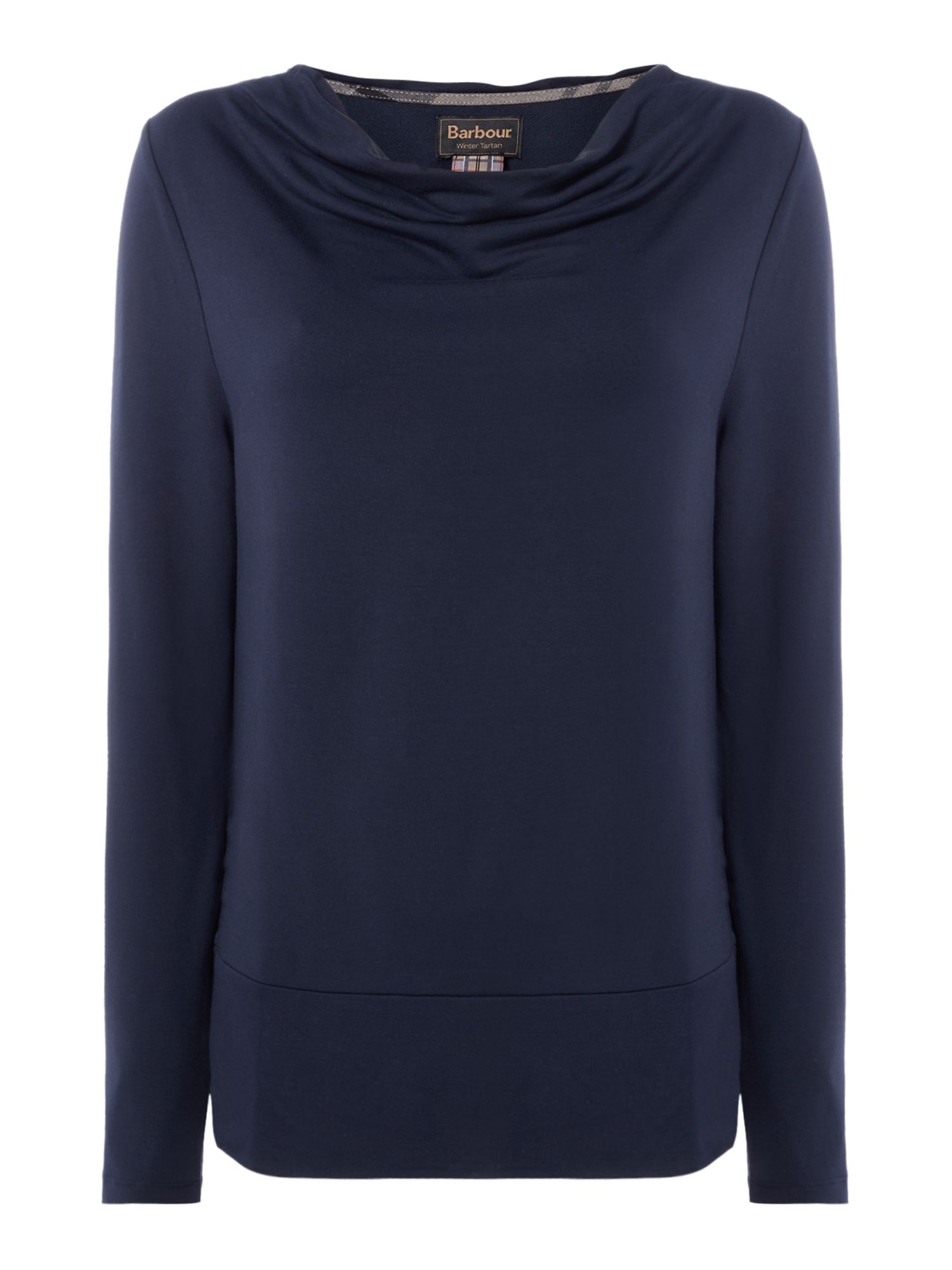 Barbour Cowl Neck Galloway Top With Hem Detail, Blue