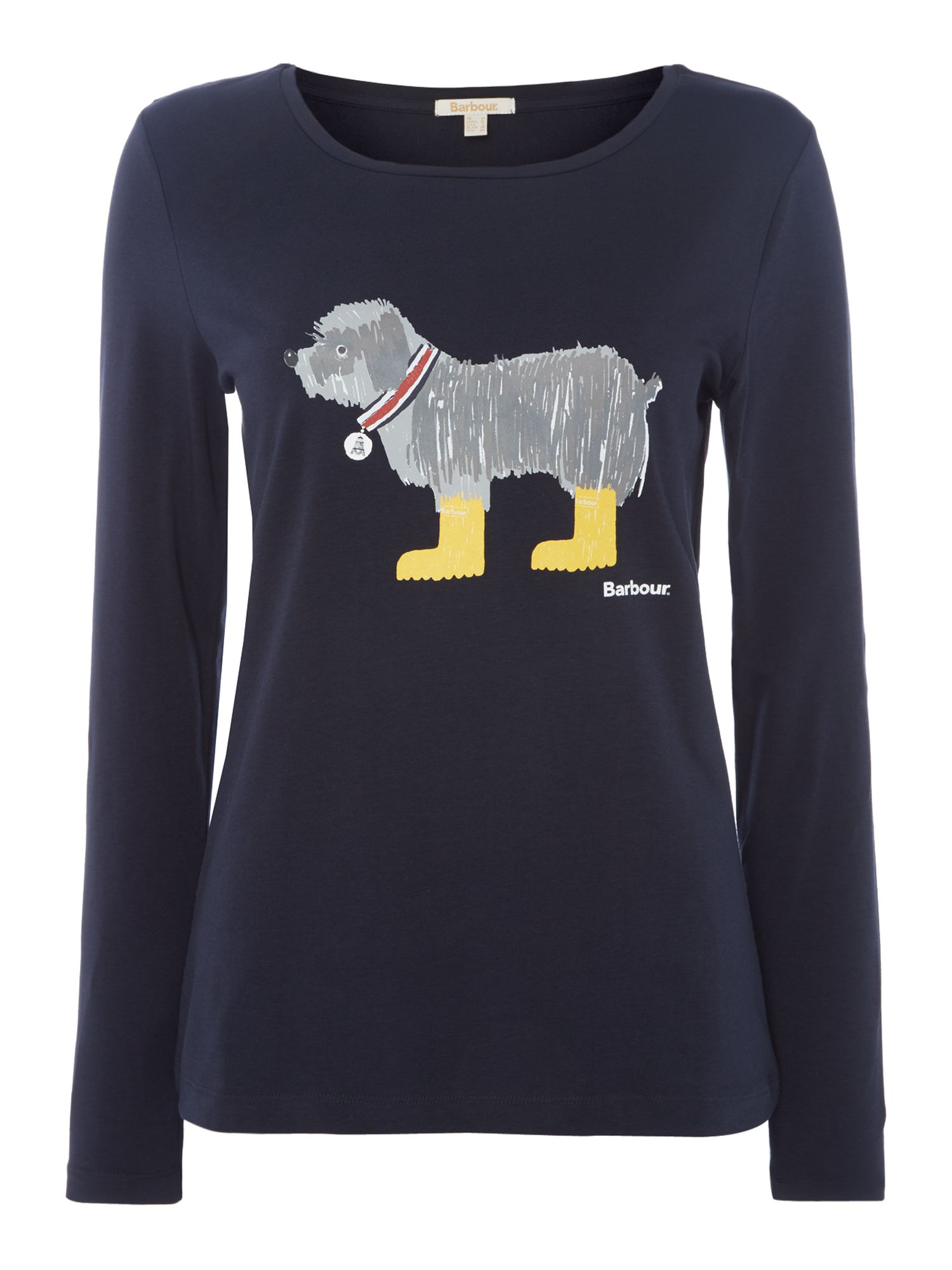 Barbour Filey T-Shirt With Dog Graphic, Dark Blue