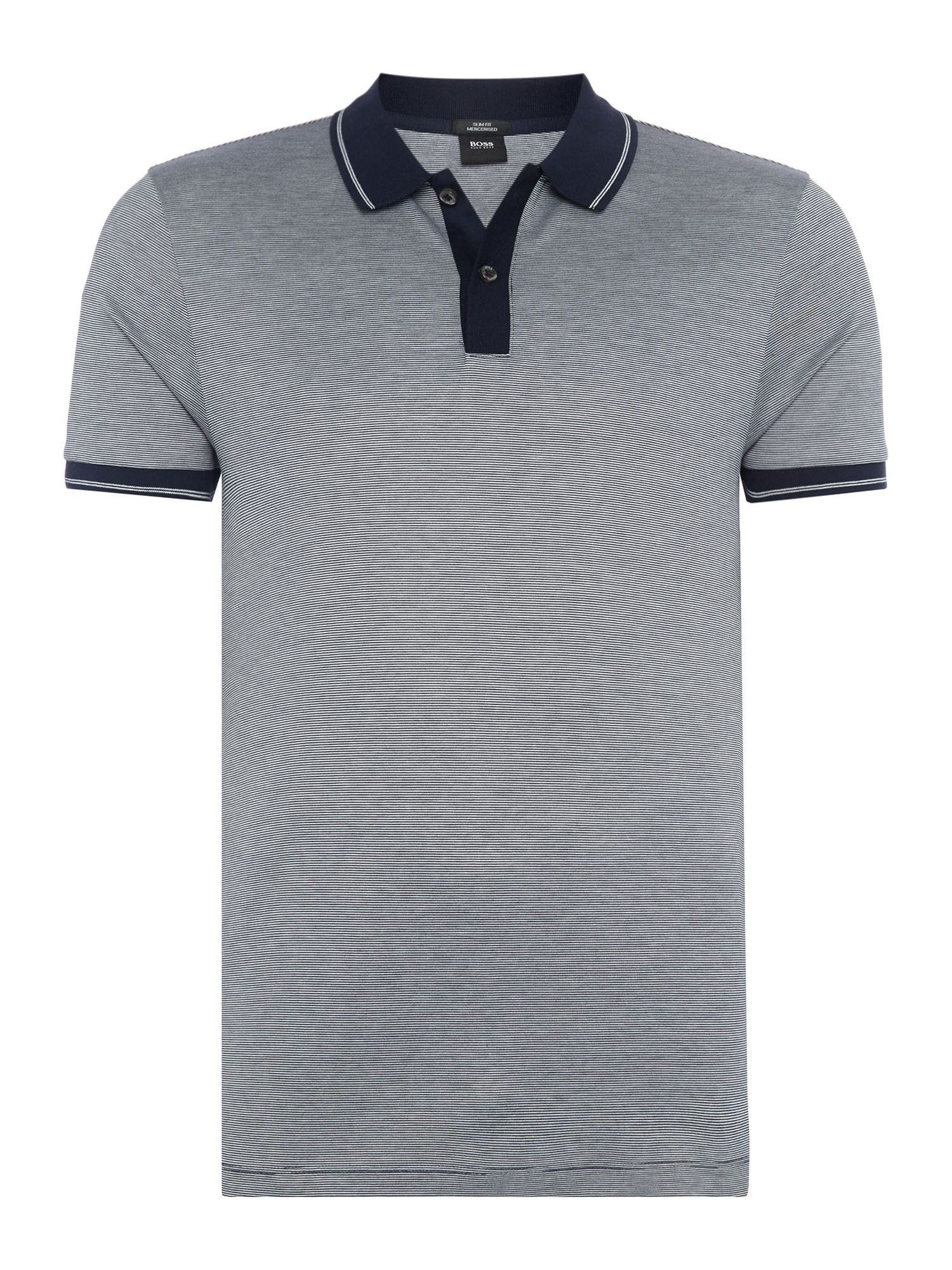 Men's Hugo Boss Phillipson fine stripe polo shirt, Blue