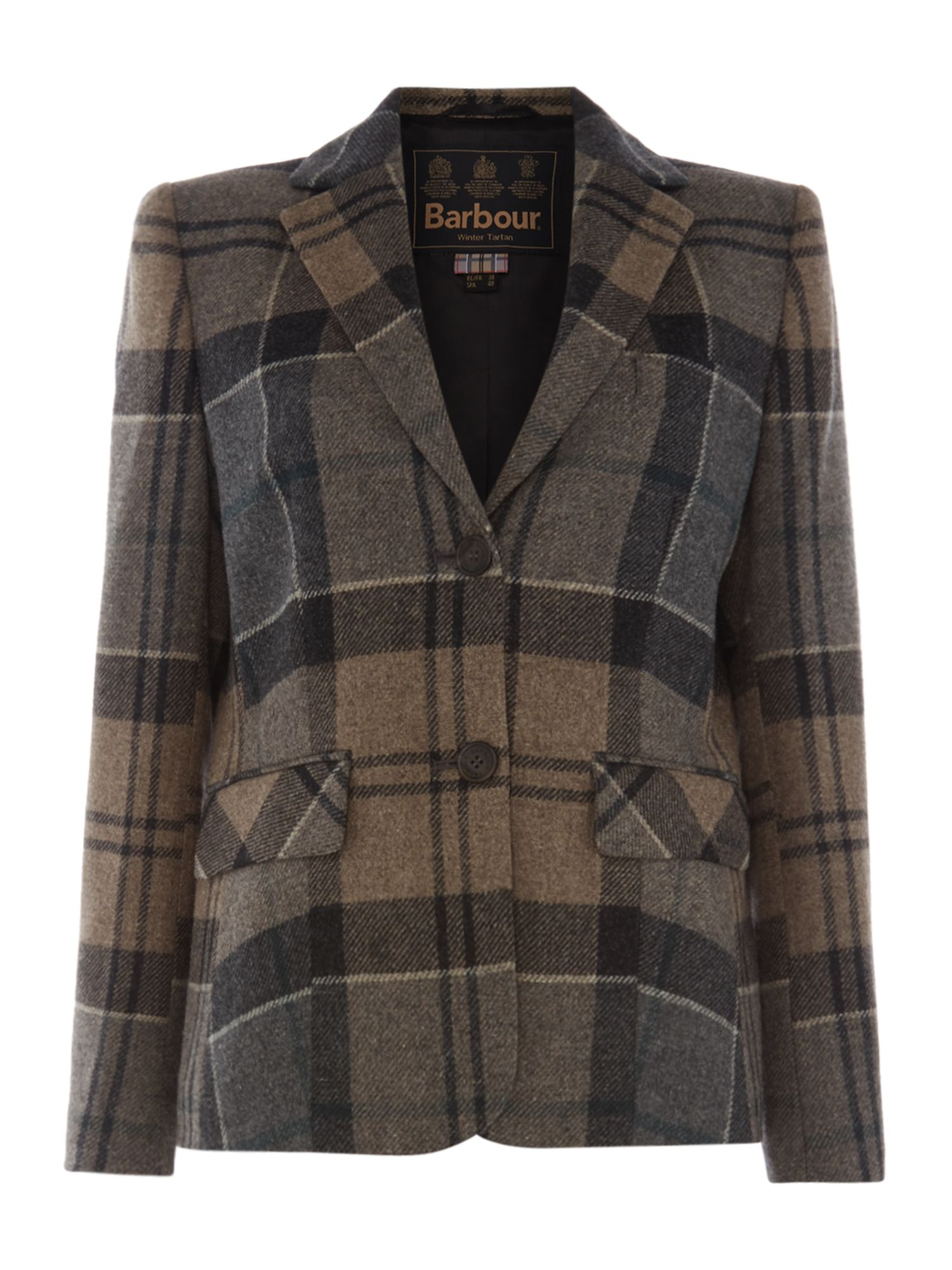 Barbour Linton Tailored Tartan Jacket, White