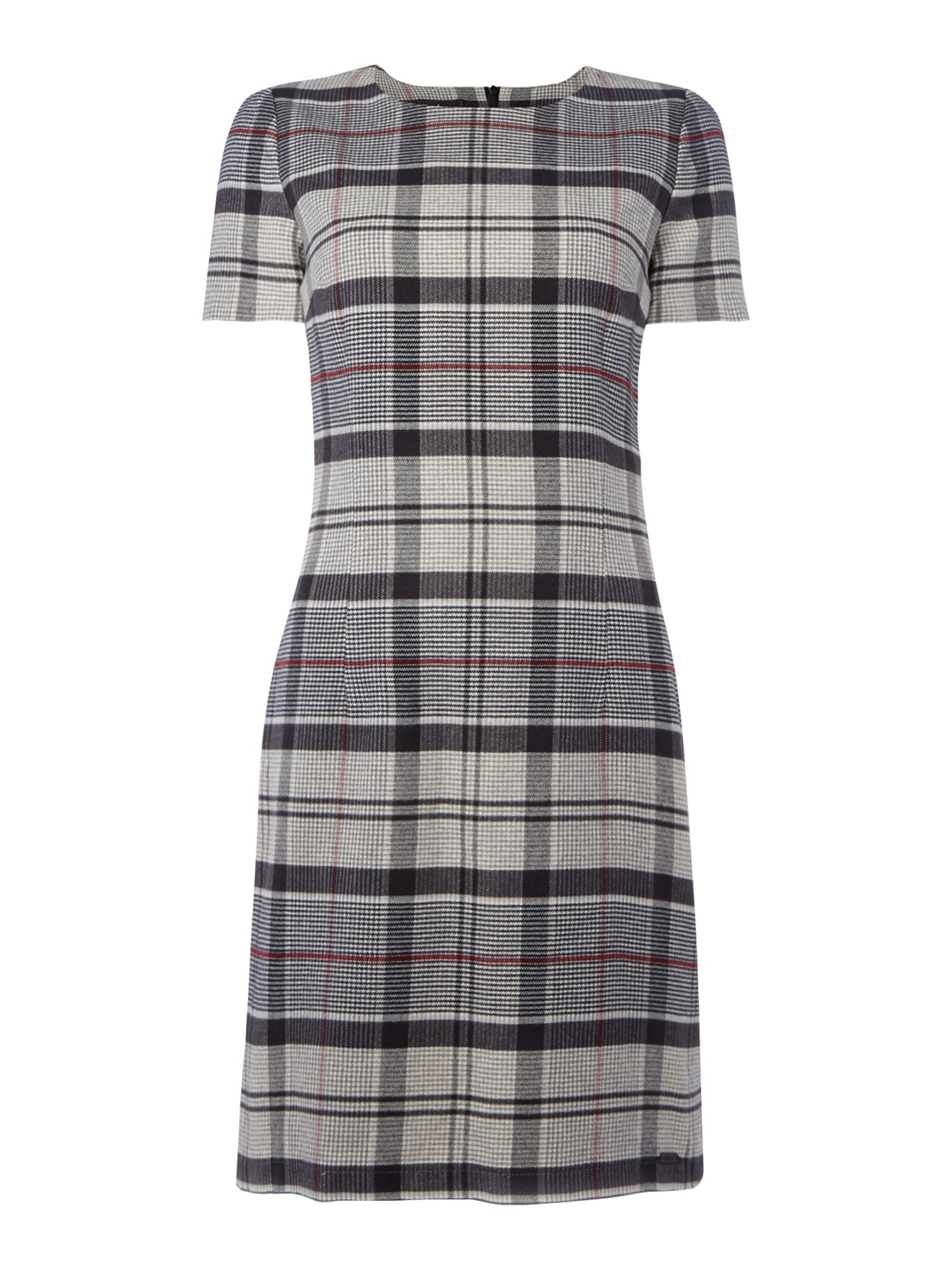 Barbour Lambs Wool Tartan Glenn Shift Dress, Charcoal