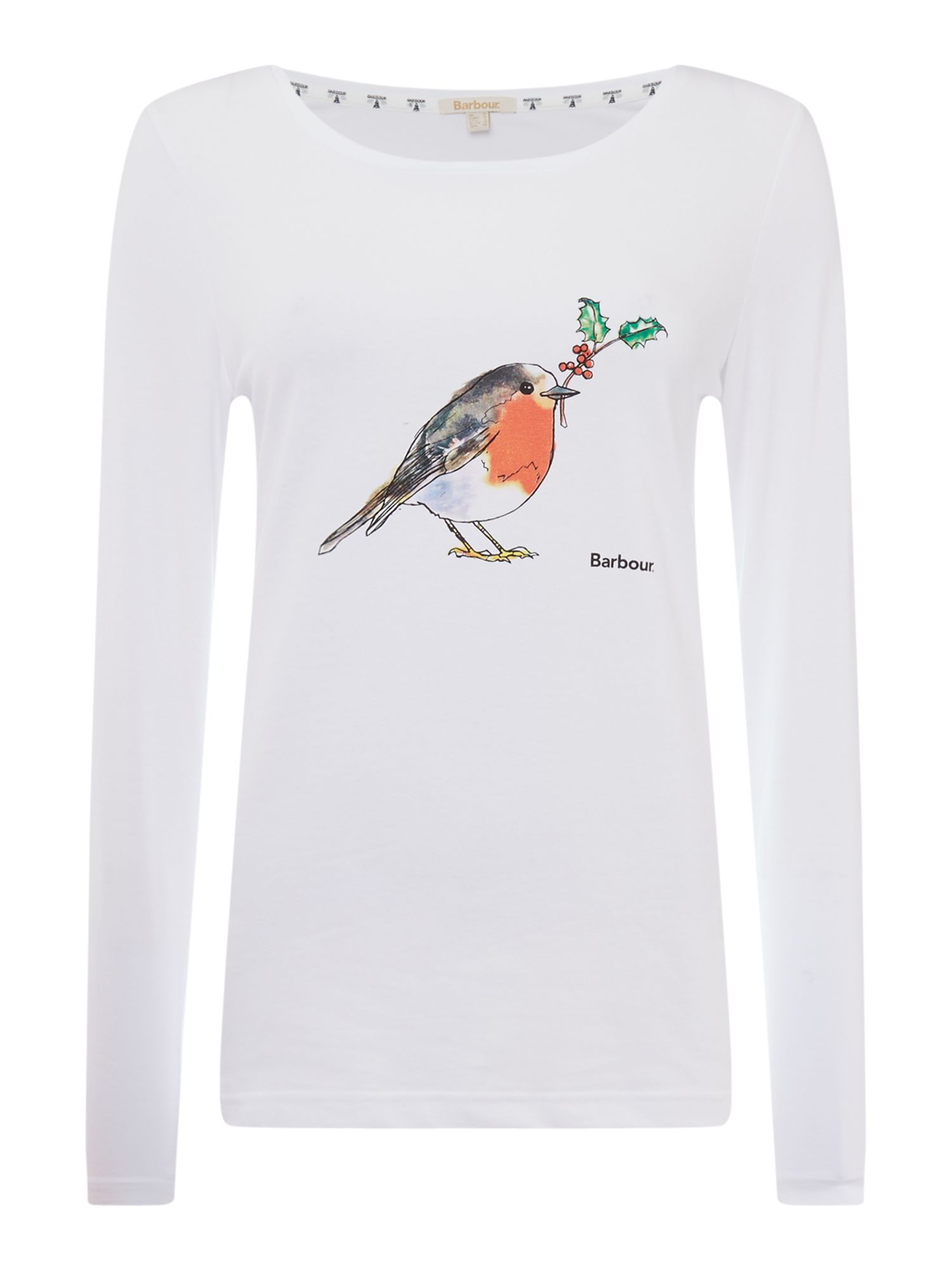 Barbour Redcliffe Long Sleeved T-Shirt With Robin Print, White