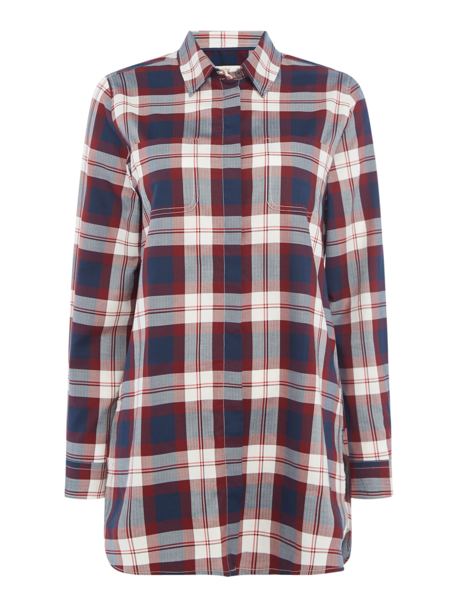 Barbour Beachley Tunic In Large Check Pattern, French Blue