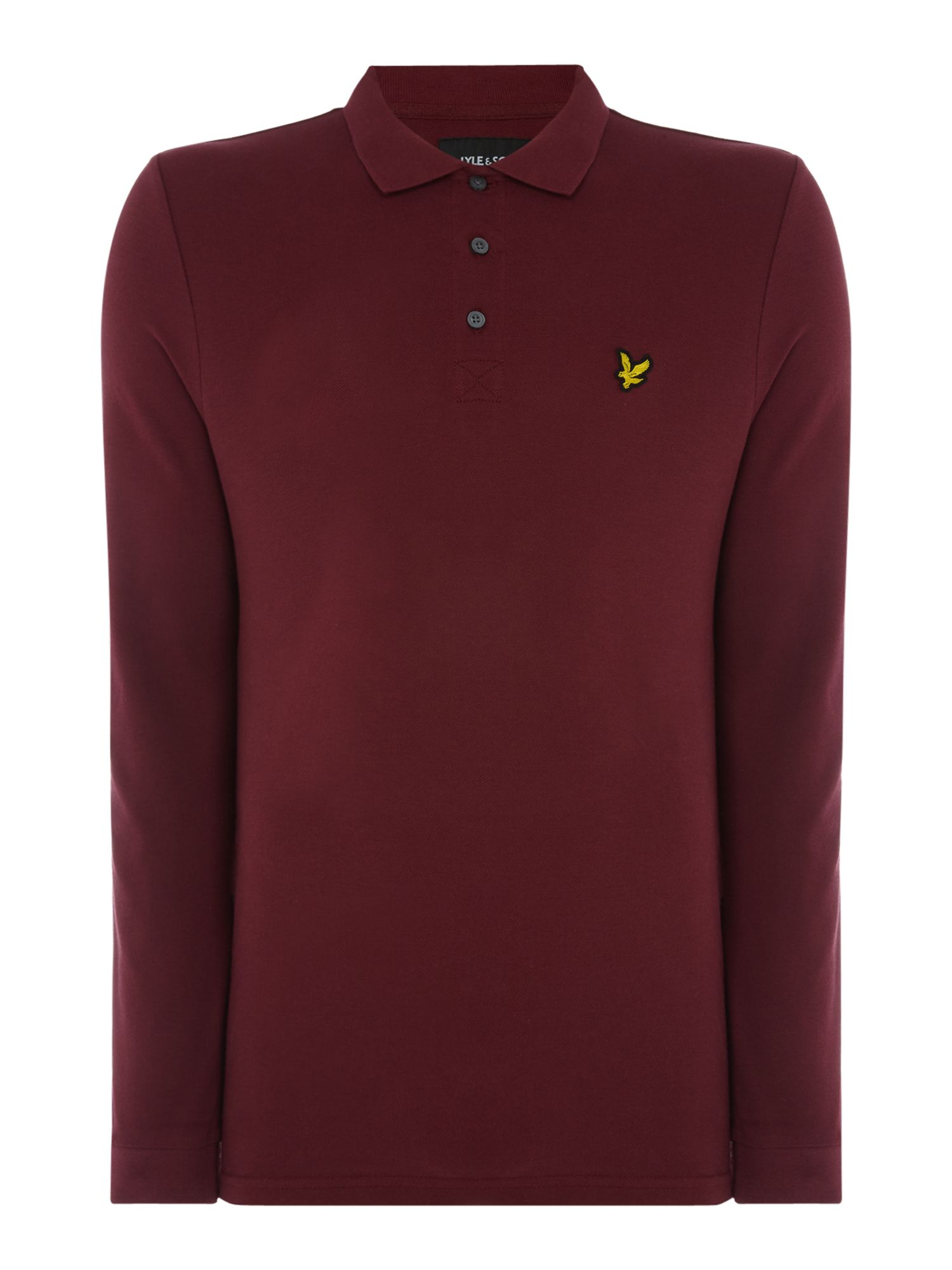 Men's Lyle and Scott Long Sleeve Classic Polo, Claret