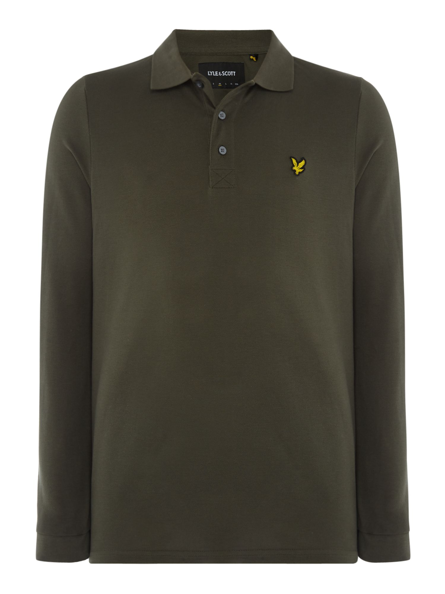 Men's Lyle and Scott Long Sleeve Classic Polo, Olive