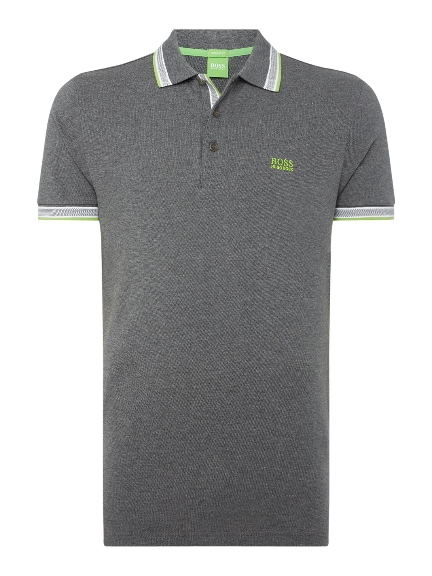 Men's Hugo Boss Paddy Short Sleeve Polo Shirt, Grey Marl