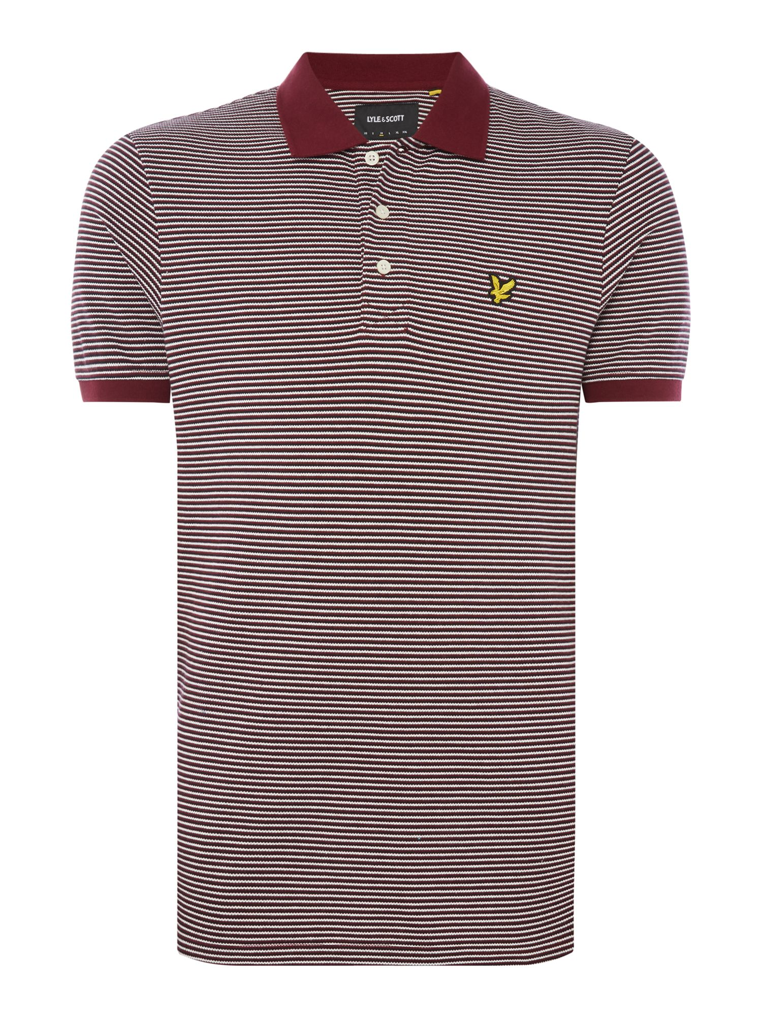Men's Lyle and Scott Feeder Stripe Short-Sleeve Polo Shirt, Claret