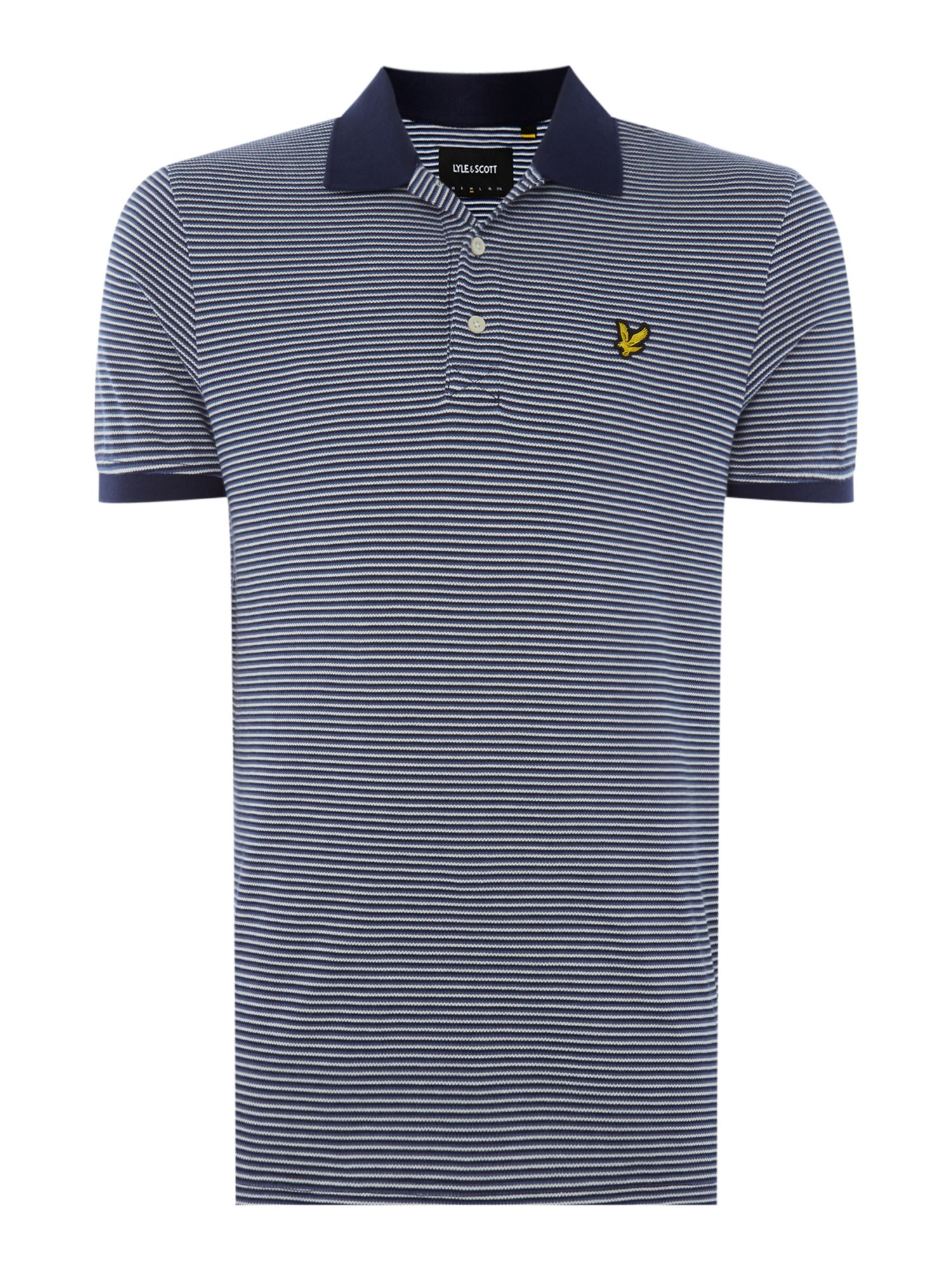 Men's Lyle and Scott Feeder Stripe Short-Sleeve Polo Shirt, Blue