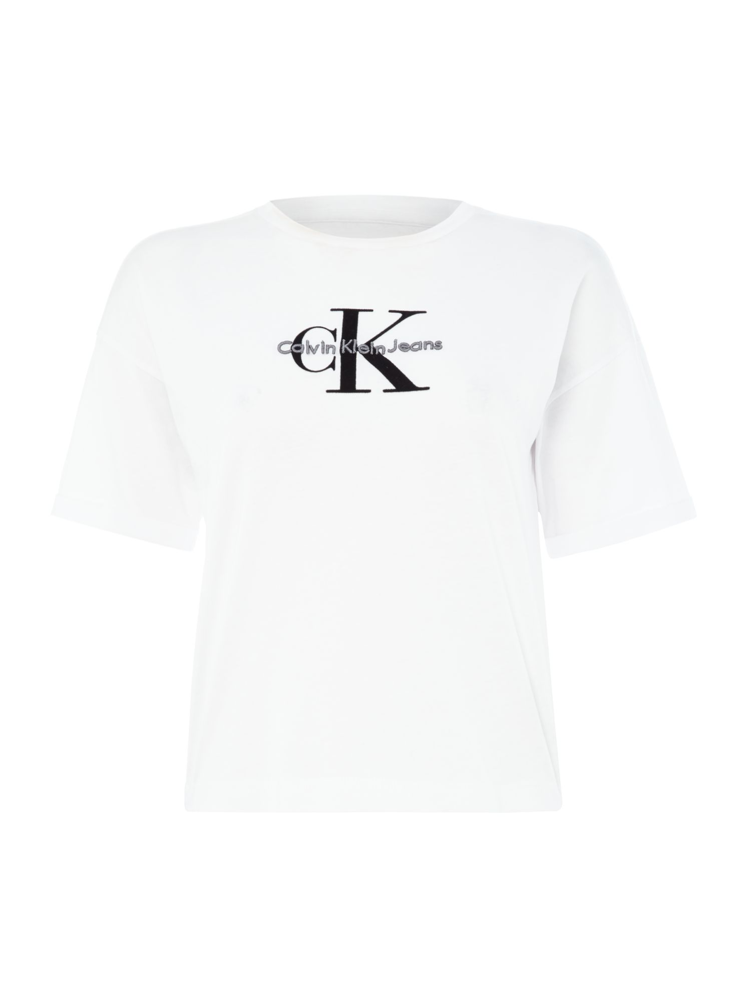 Calvin Klein Teco short sleeve true icon crop tshirt, White