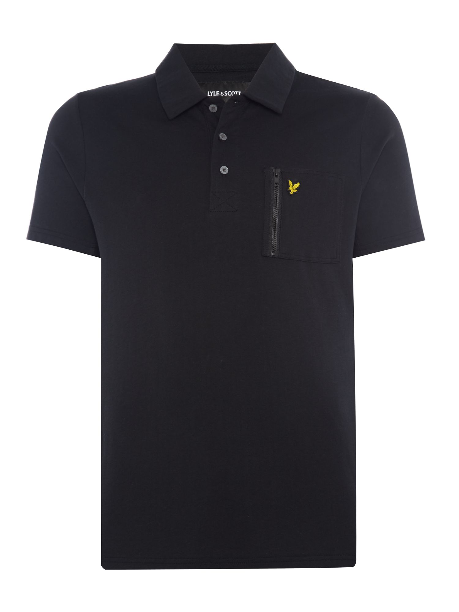 Men's Lyle and Scott Zip pocket short sleeve polo, Black