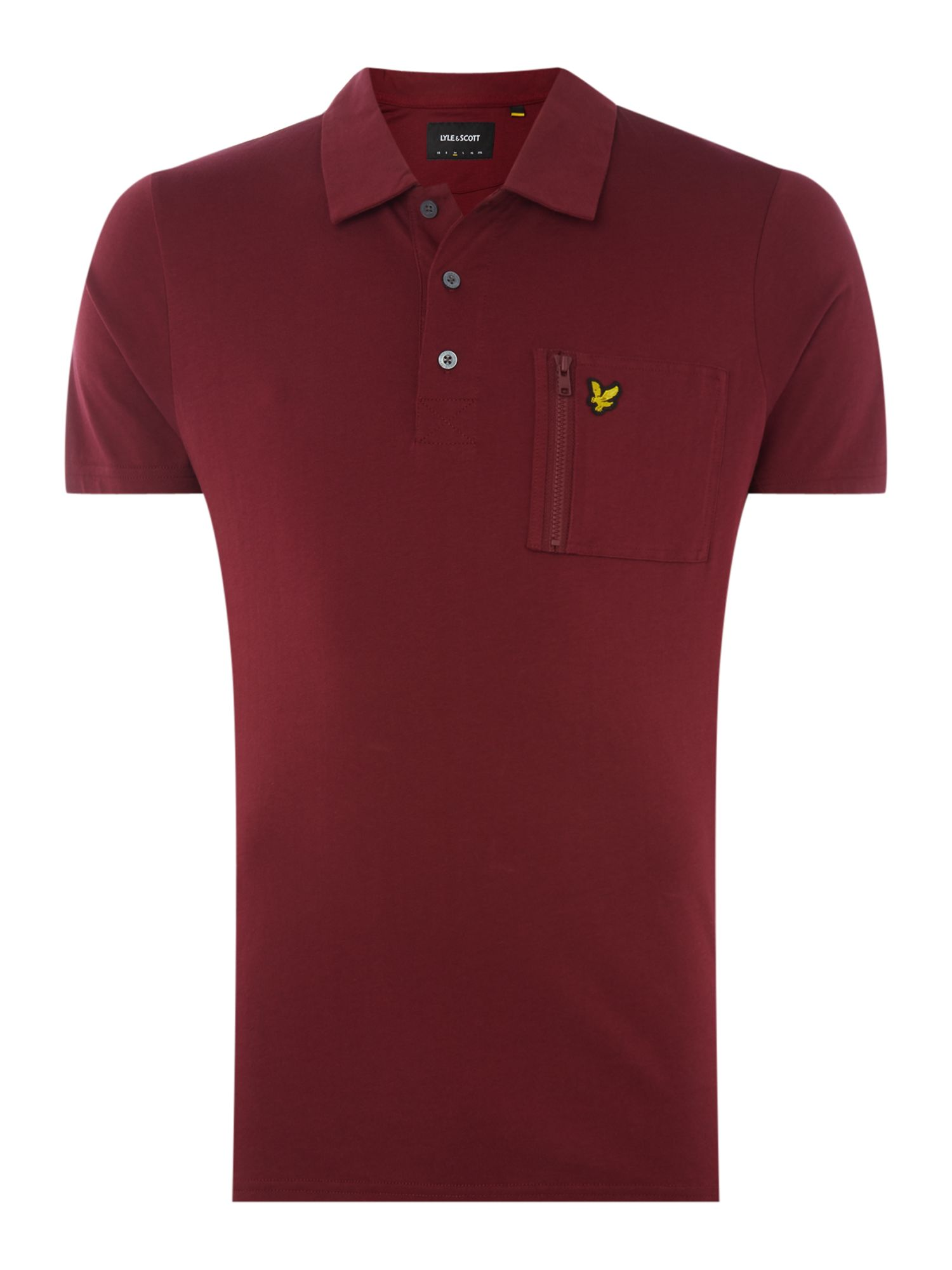 Men's Lyle and Scott Zip pocket short sleeve polo, Claret
