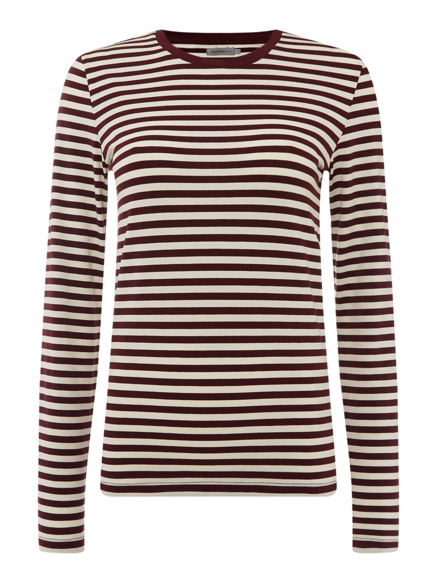 Calvin Klein Long sleeve striped crew neck jersey top, Red