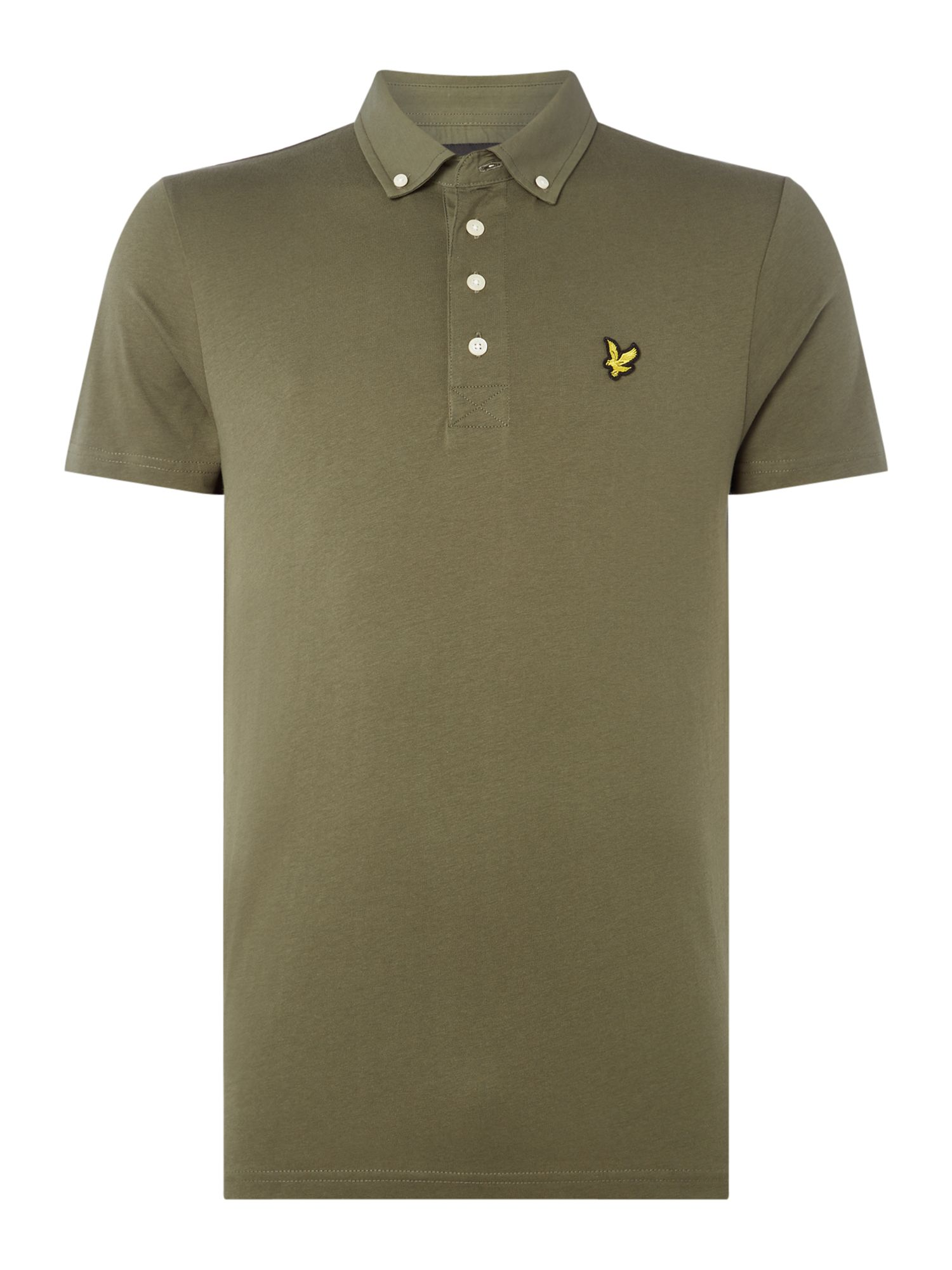 Men's Lyle and Scott Woven collar short sleeve polo, Olive