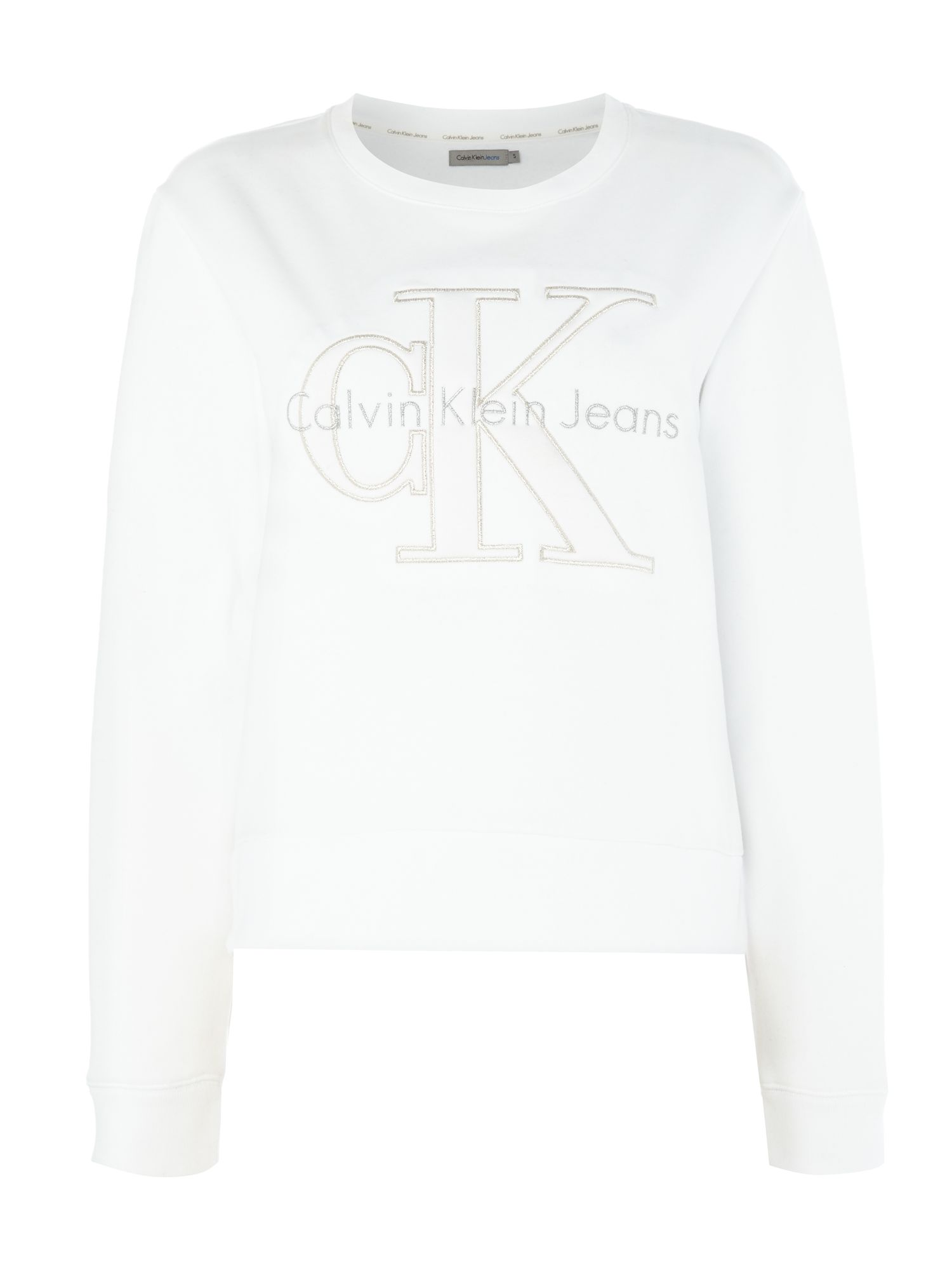 Calvin Klein Harper long sleeve sweatshirt with metallic logo, White