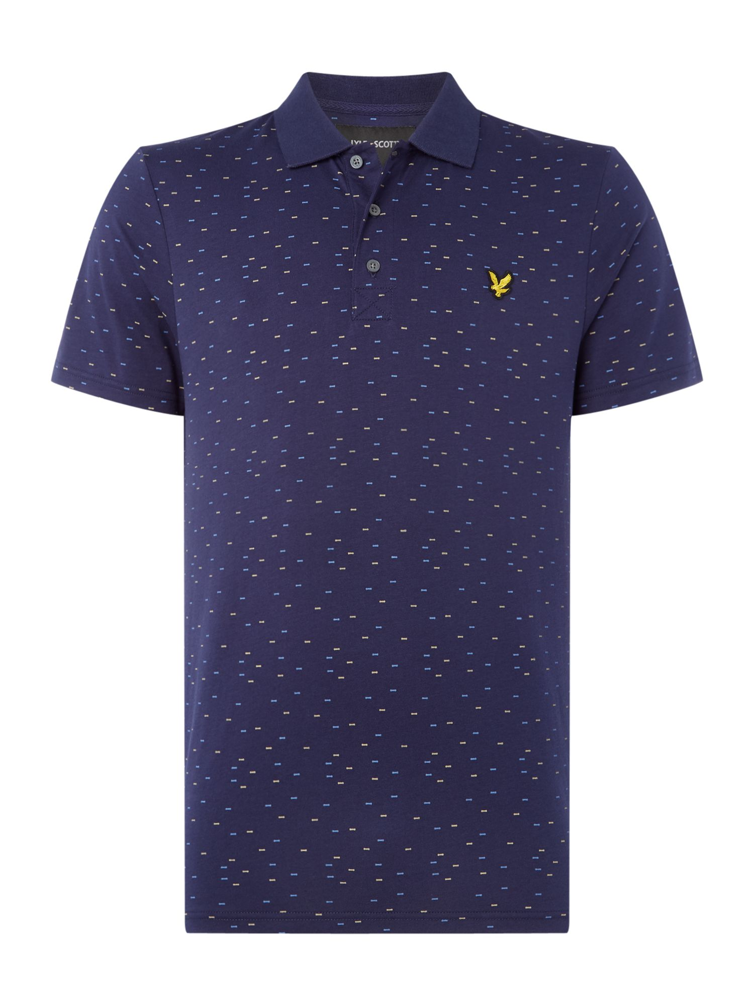 Men's Lyle and Scott Fil coupe printed short sleeve polo, Blue