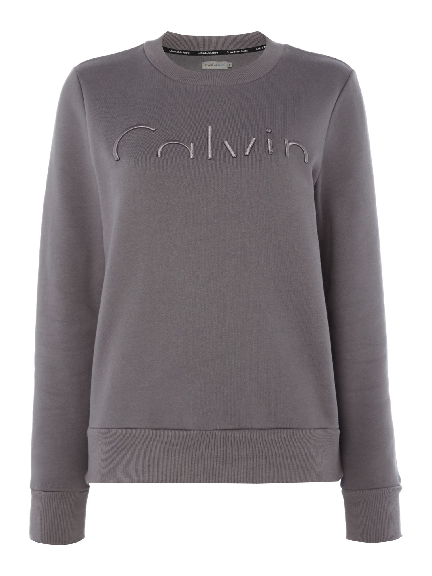 Calvin Klein Hadar long sleeve embroidered logo sweatshirt, Grey