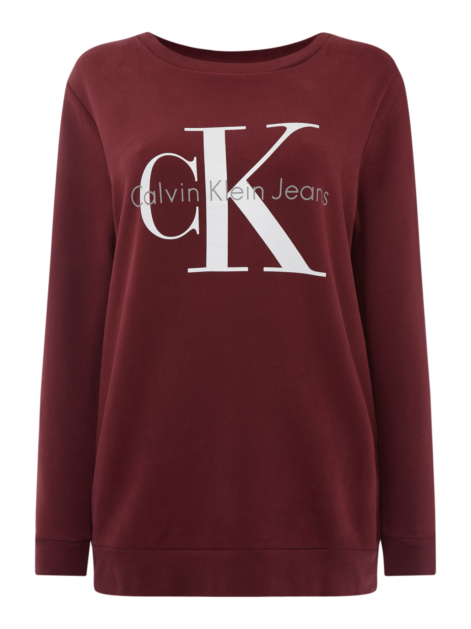 Calvin Klein Long sleeve crew neck true icon sweatshirt, Red