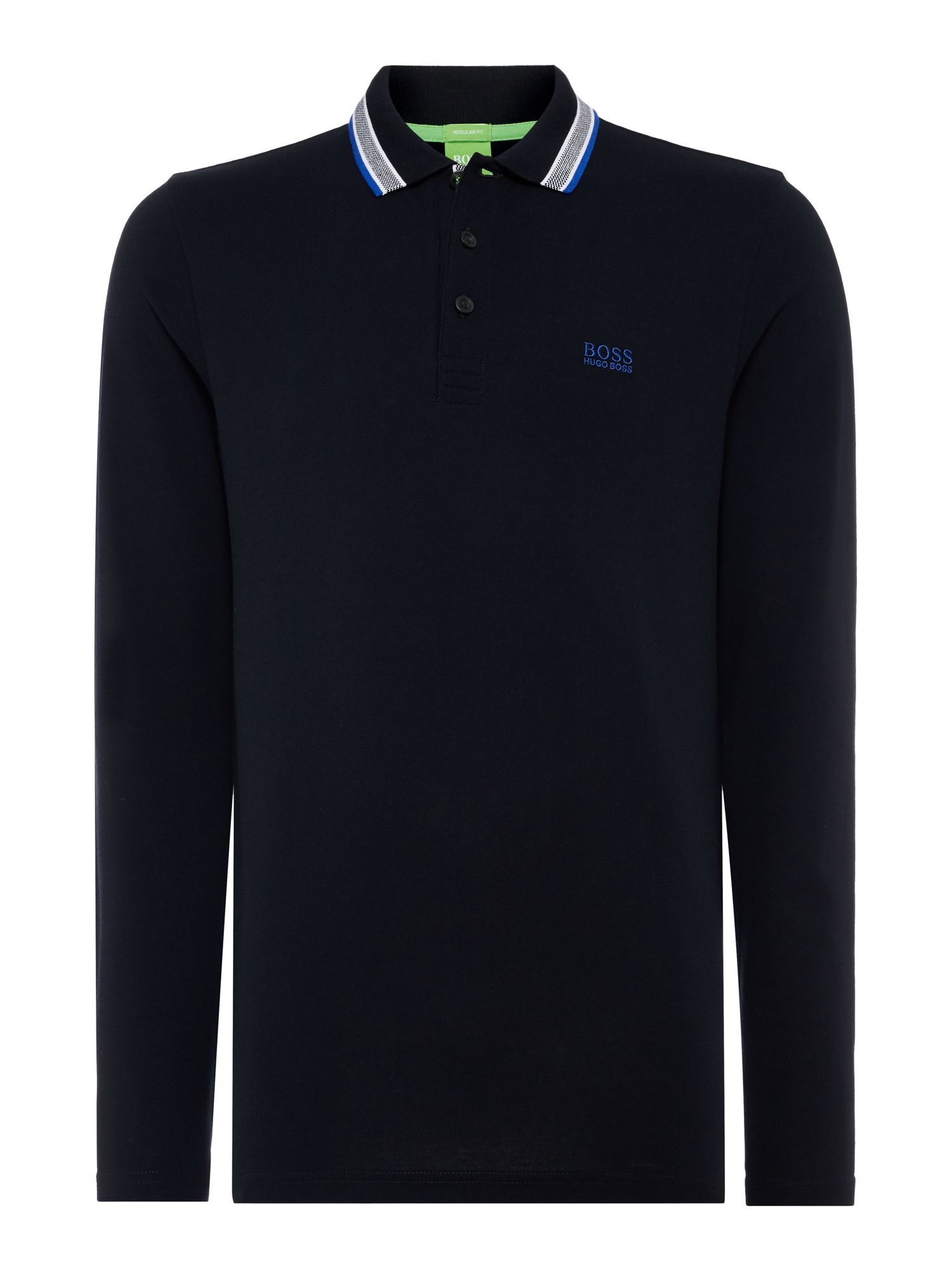 Men's Hugo Boss Oxford long sleeve polo, Black