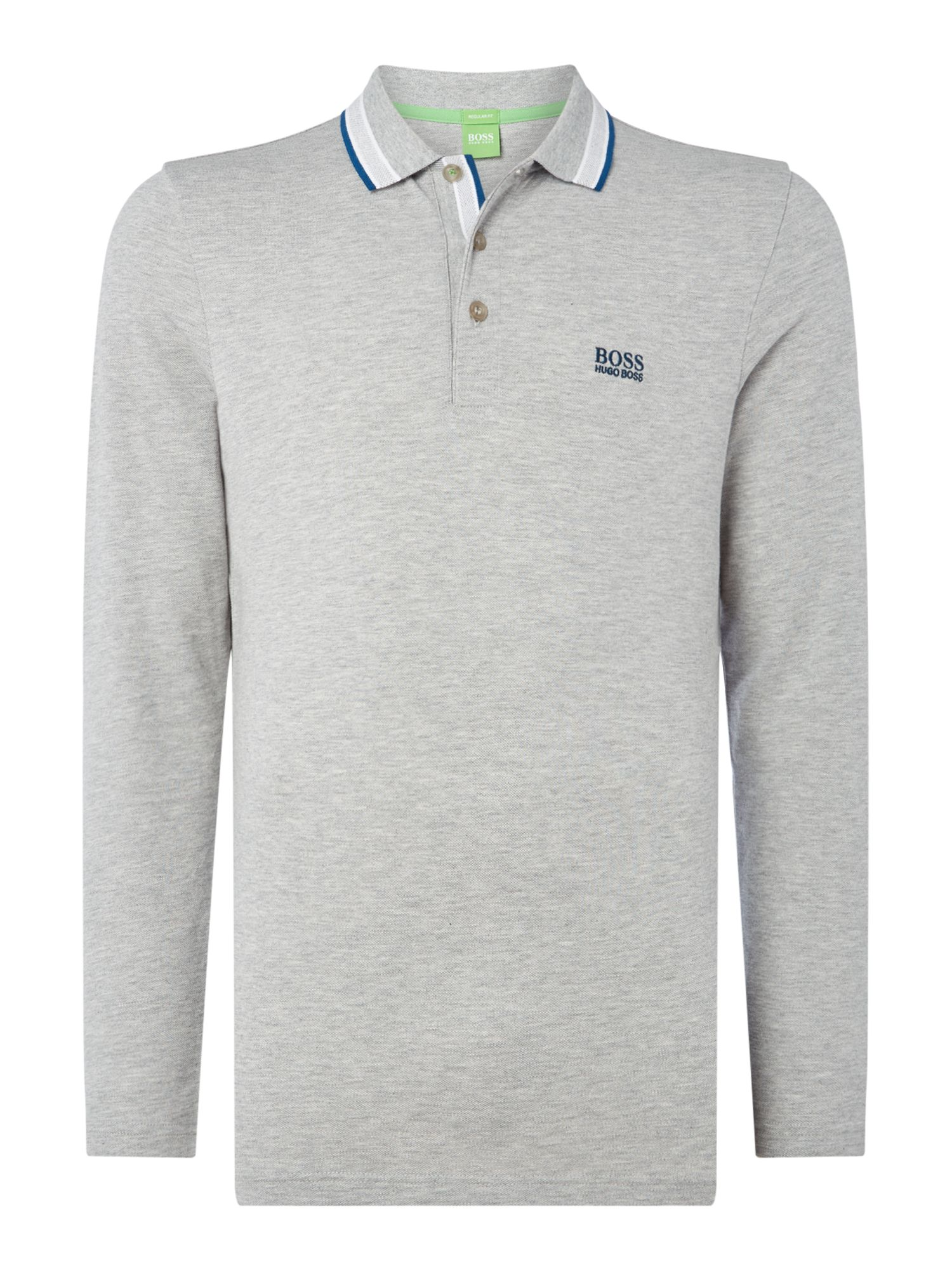 Men's Hugo Boss Oxford long sleeve polo, Grey Marl