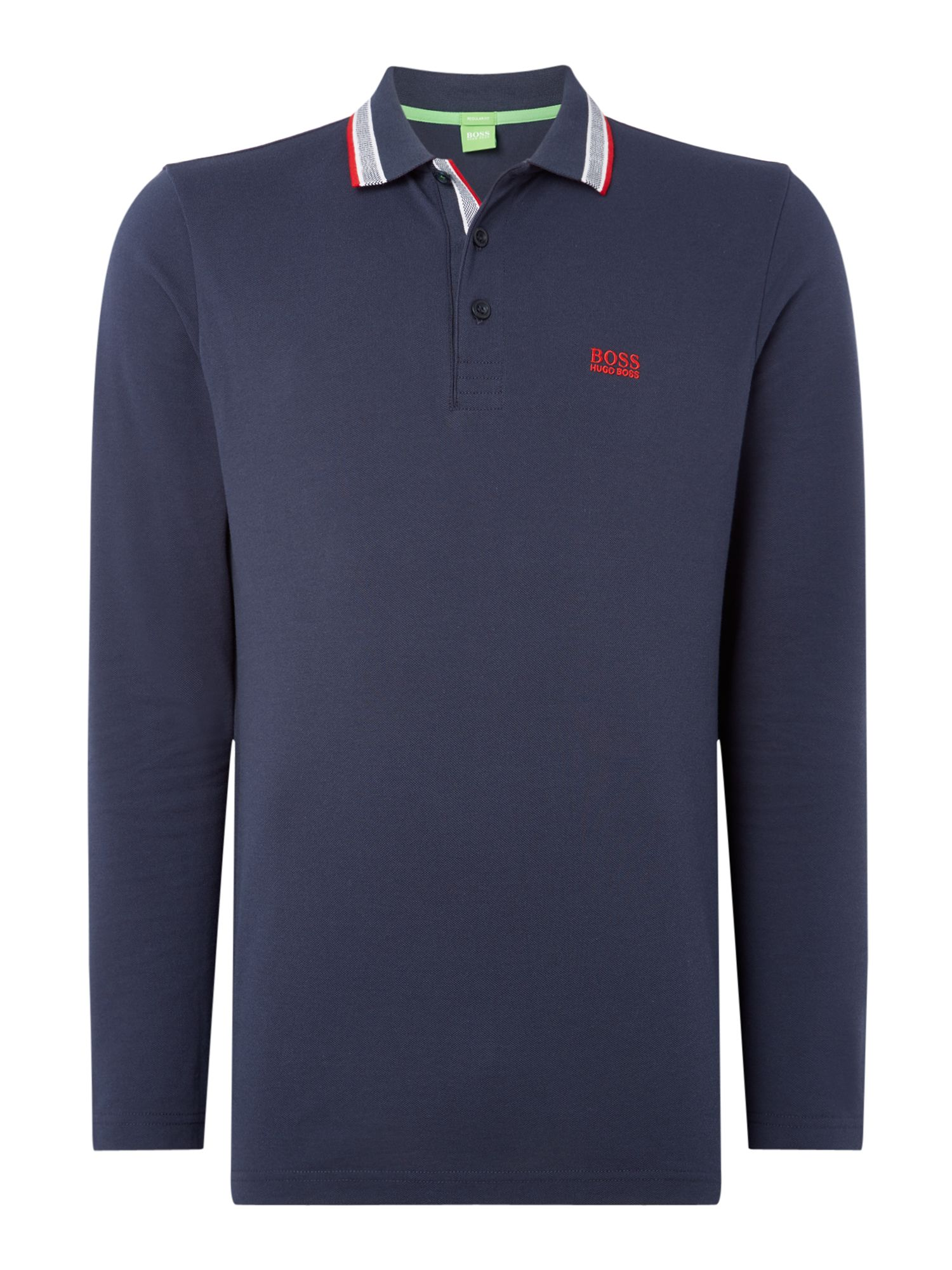 Men's Hugo Boss Oxford long sleeve polo, Blue