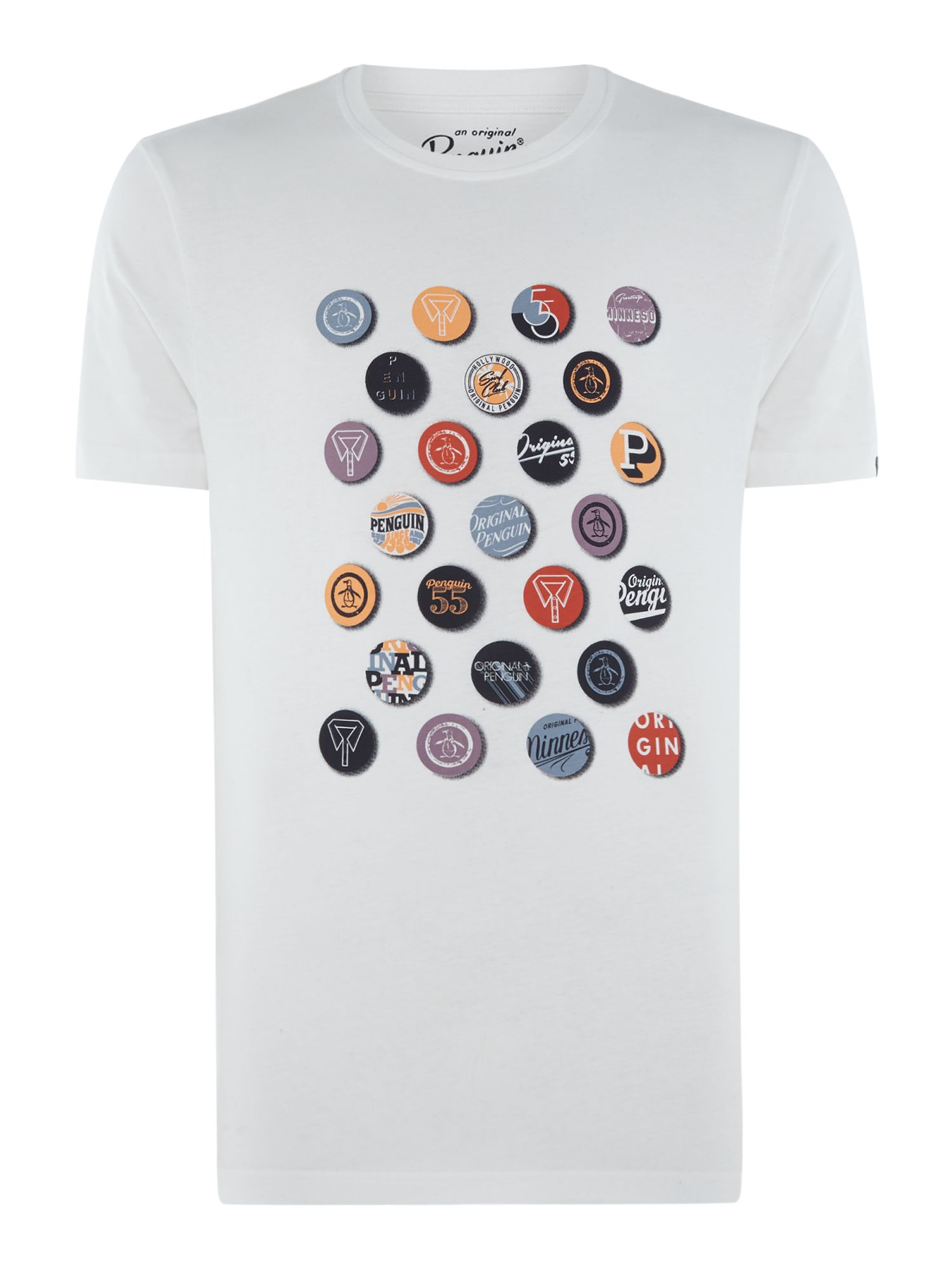 Men's Original Penguin Badges Print Crew Neck T-Shirt, White