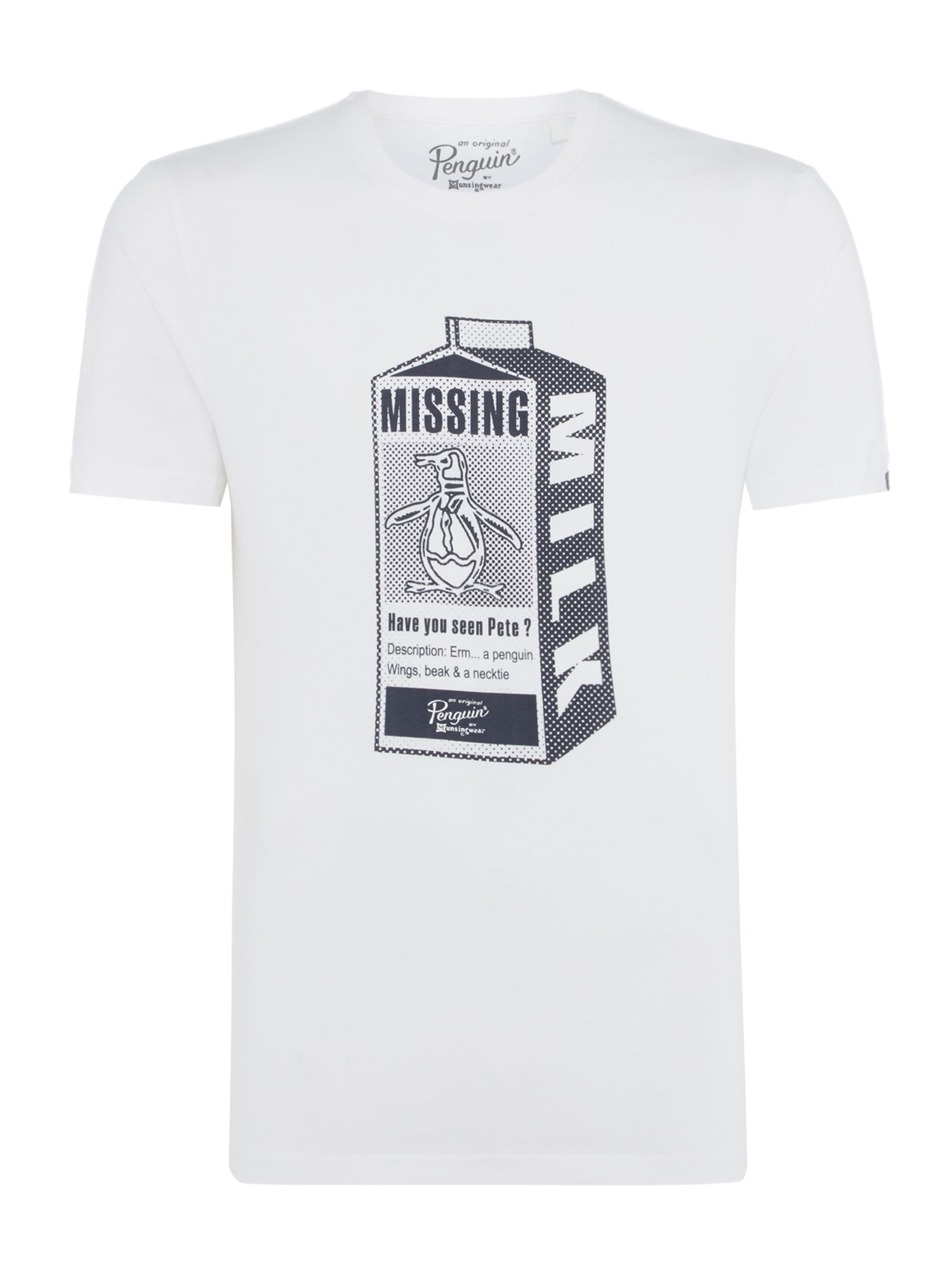 Men's Original Penguin Missing Pete Milk Crew Neck T-Shirt, White