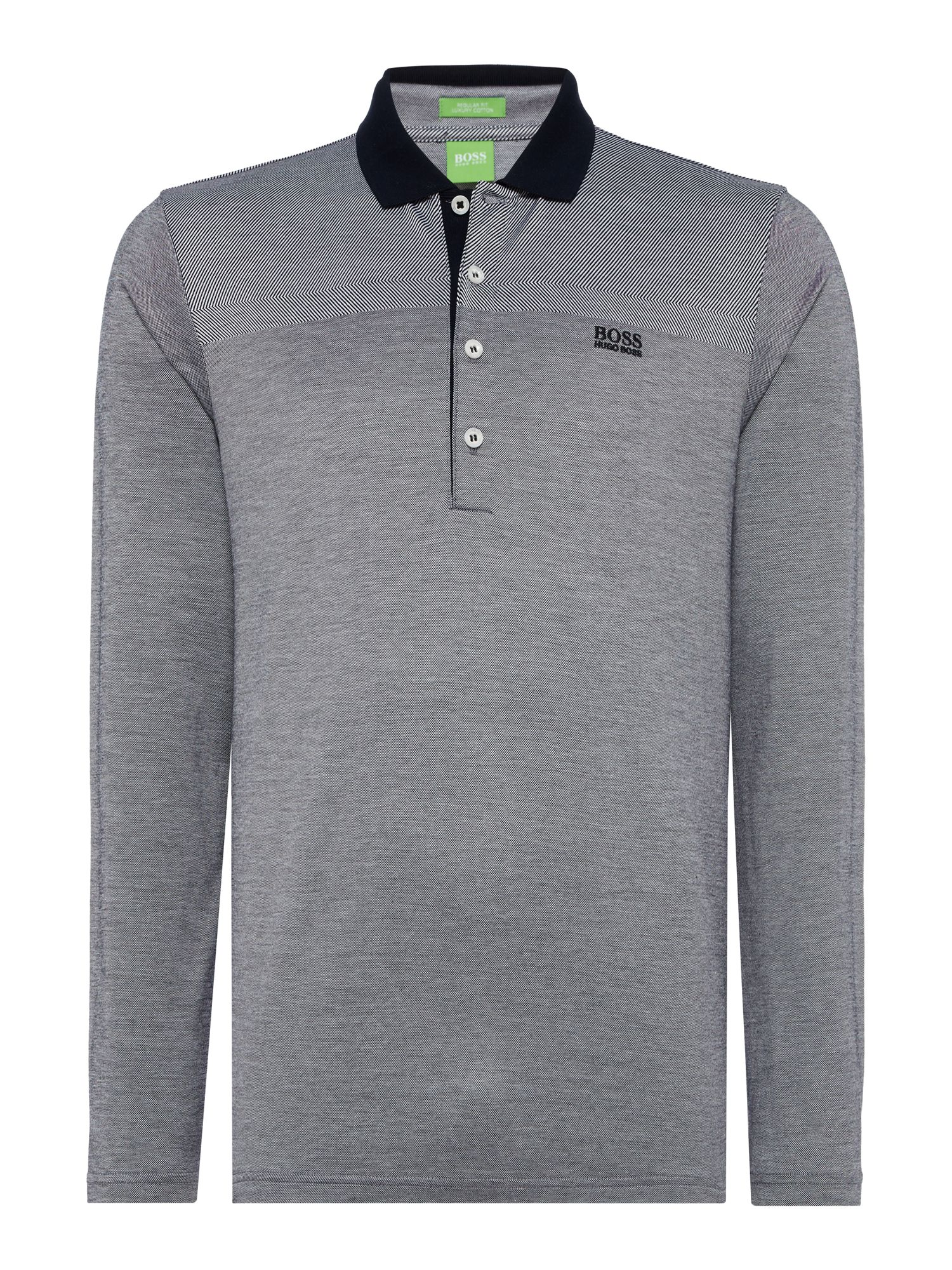 Men's Hugo Boss Pirona Long sleeve oxford polo, White