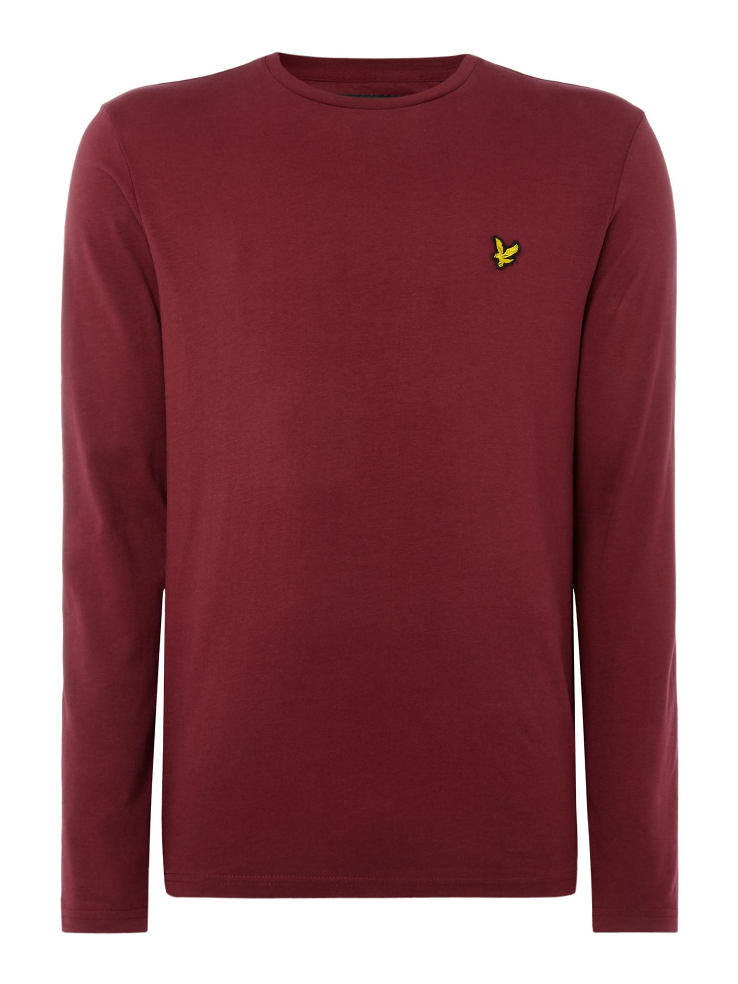 Men's Lyle and Scott Long Sleeve Classic Crew Neck T-Shirt, Claret