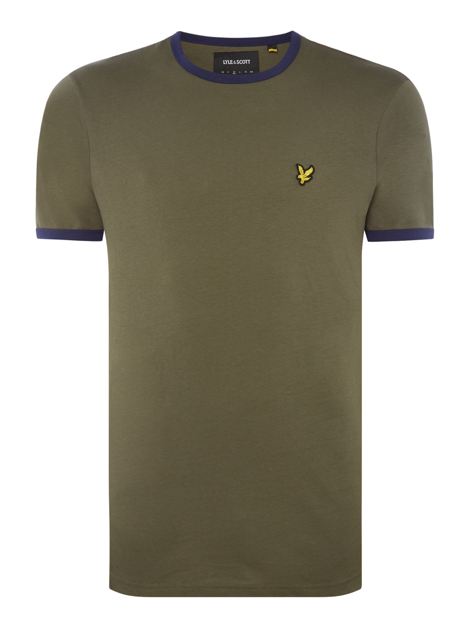 Men's Lyle and Scott Ringer crew neck short sleeve t-shirt, Olive