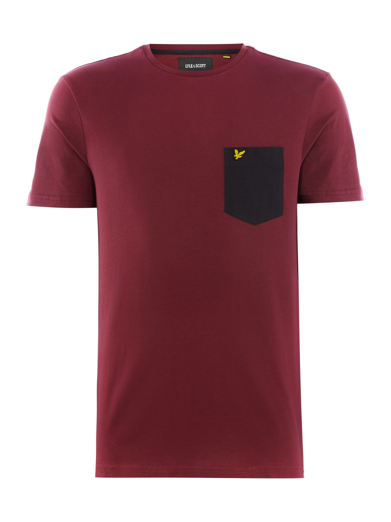 Men's Lyle and Scott Contrast pocket t-tshirt, Claret