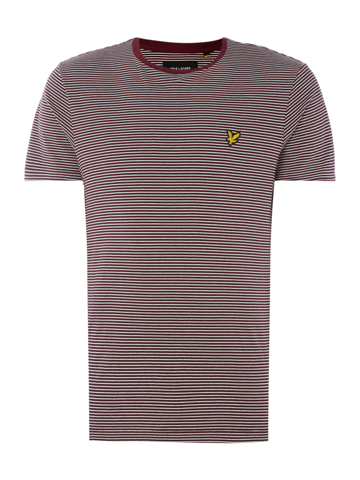 Men's Lyle and Scott Feeder stripe short sleeve tshirt, Claret