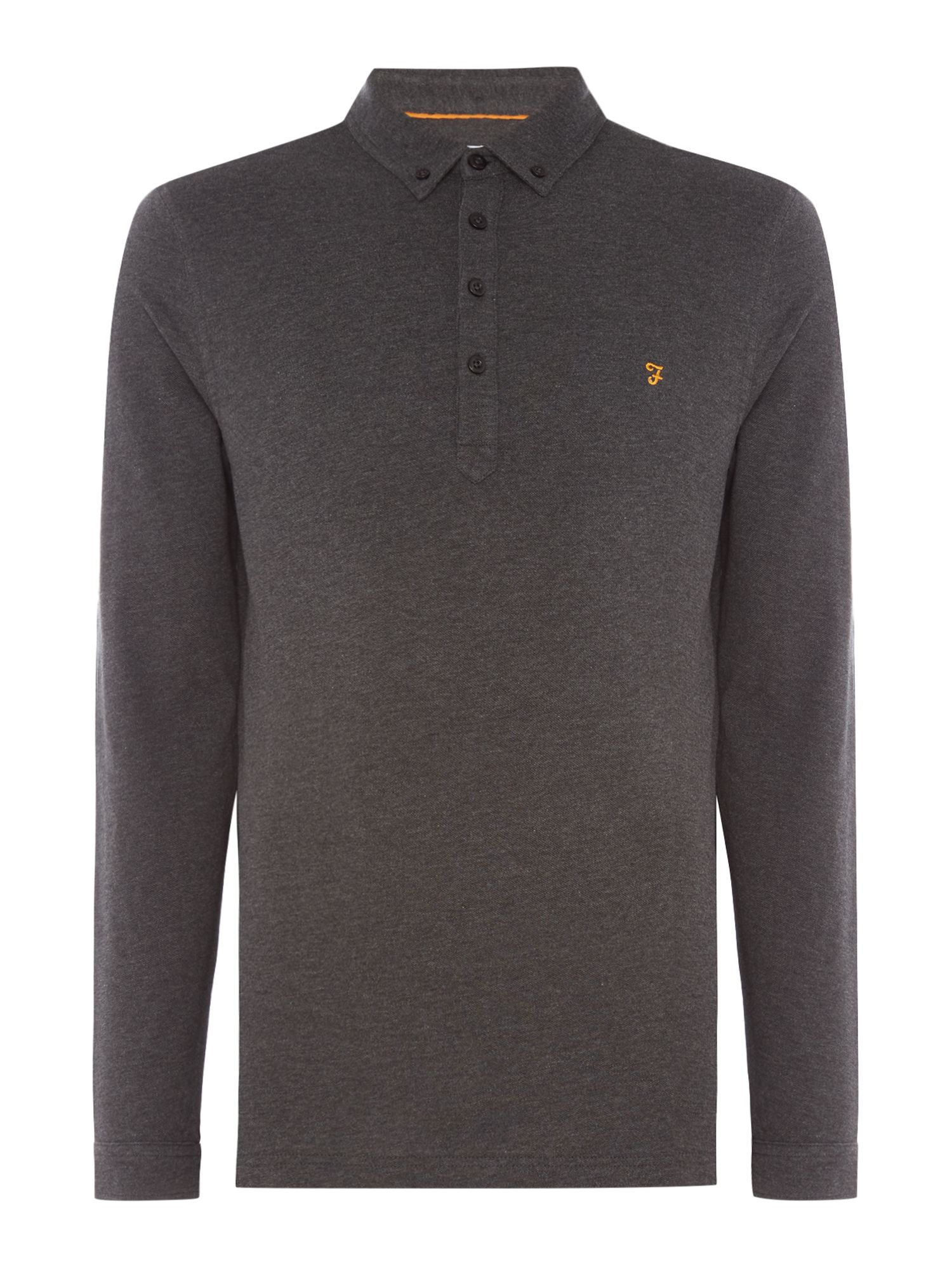 Men's Farah Long Sleeve Merriweather Polo, Charcoal